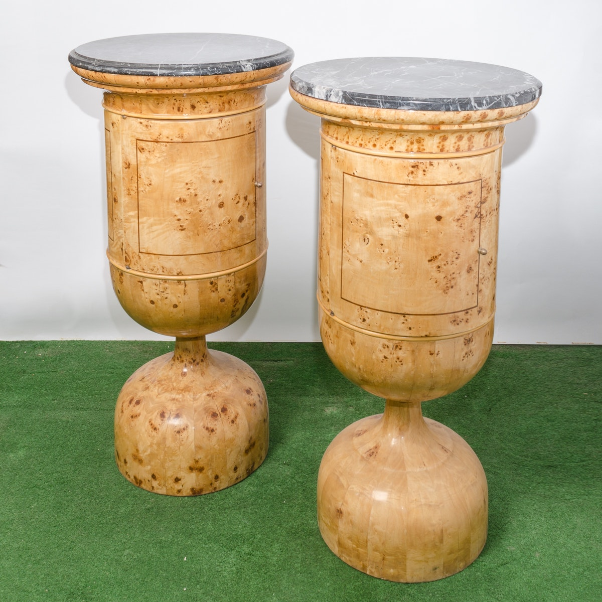 Pair of Urn-Form Burled Tables with Marble Top