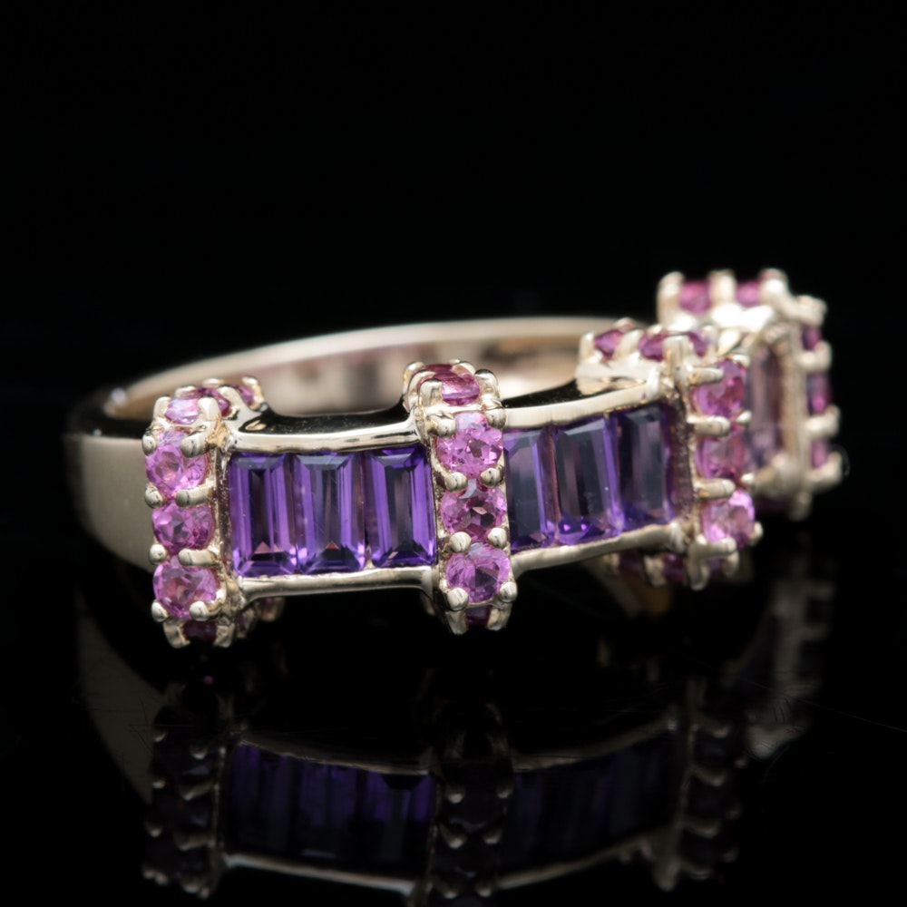 10K Yellow Gold, Amethyst and Garnet Ring