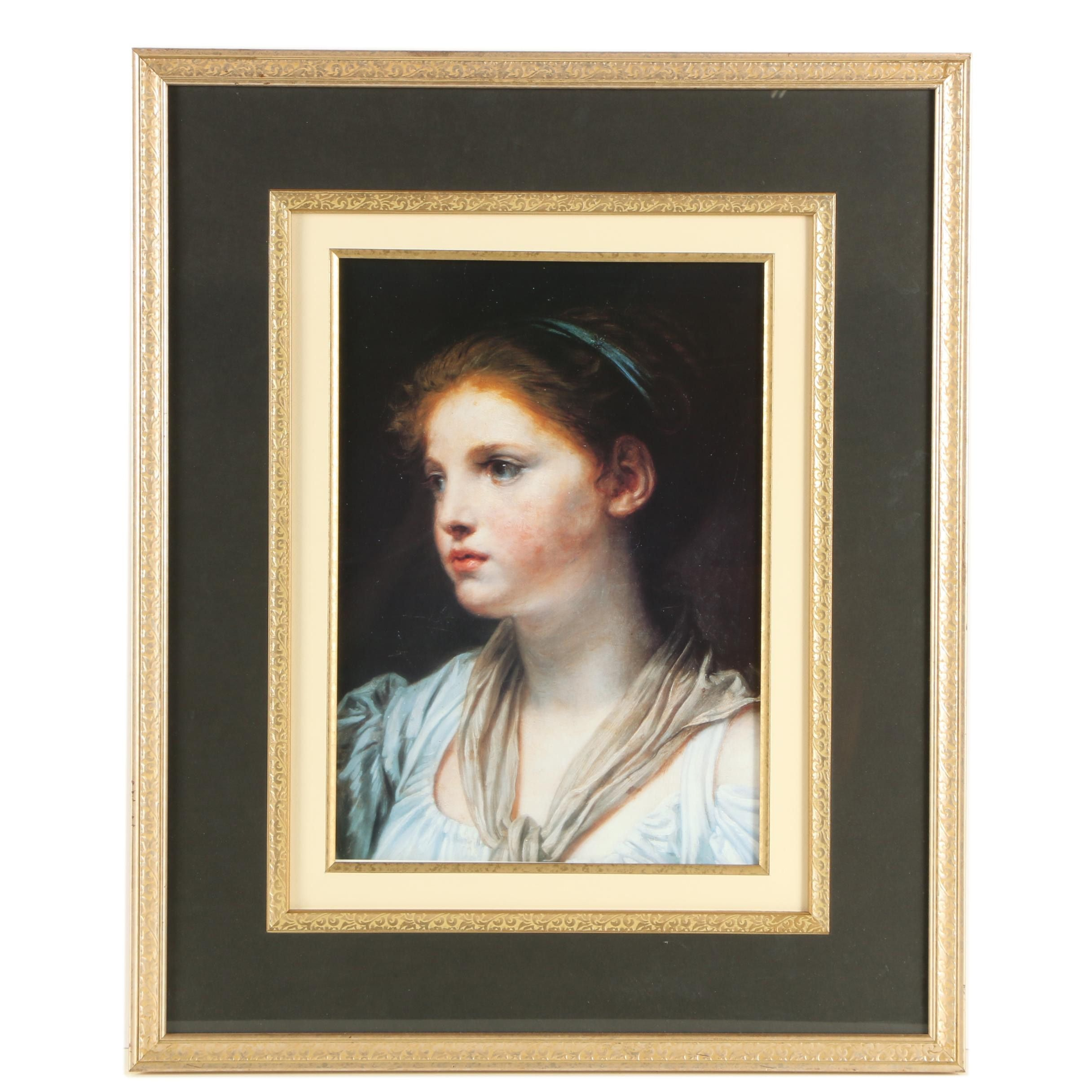 """Offset Lithograph After Jean-Baptiste Greuze's """"Young Girl with a Blue Ribbon"""""""