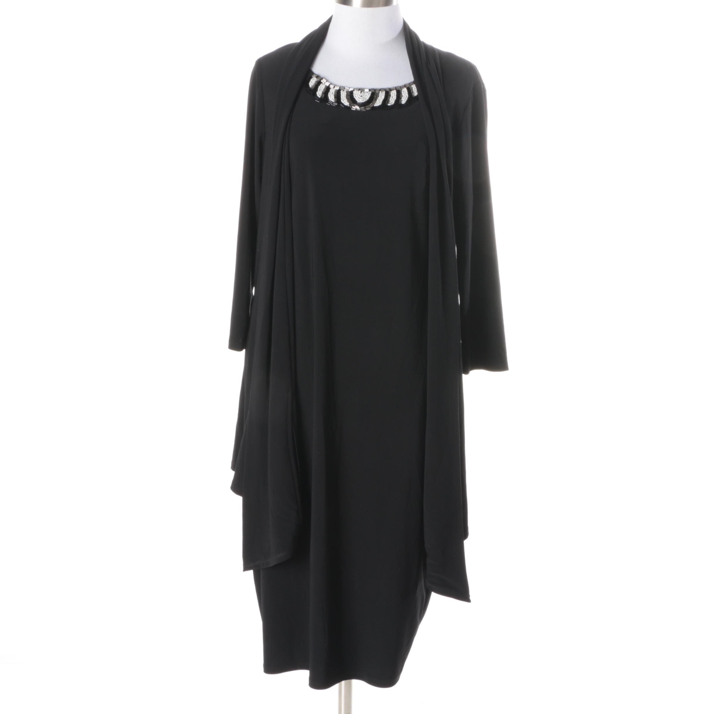 Evan-Picone Embellished Black Dress with Attached Jacket