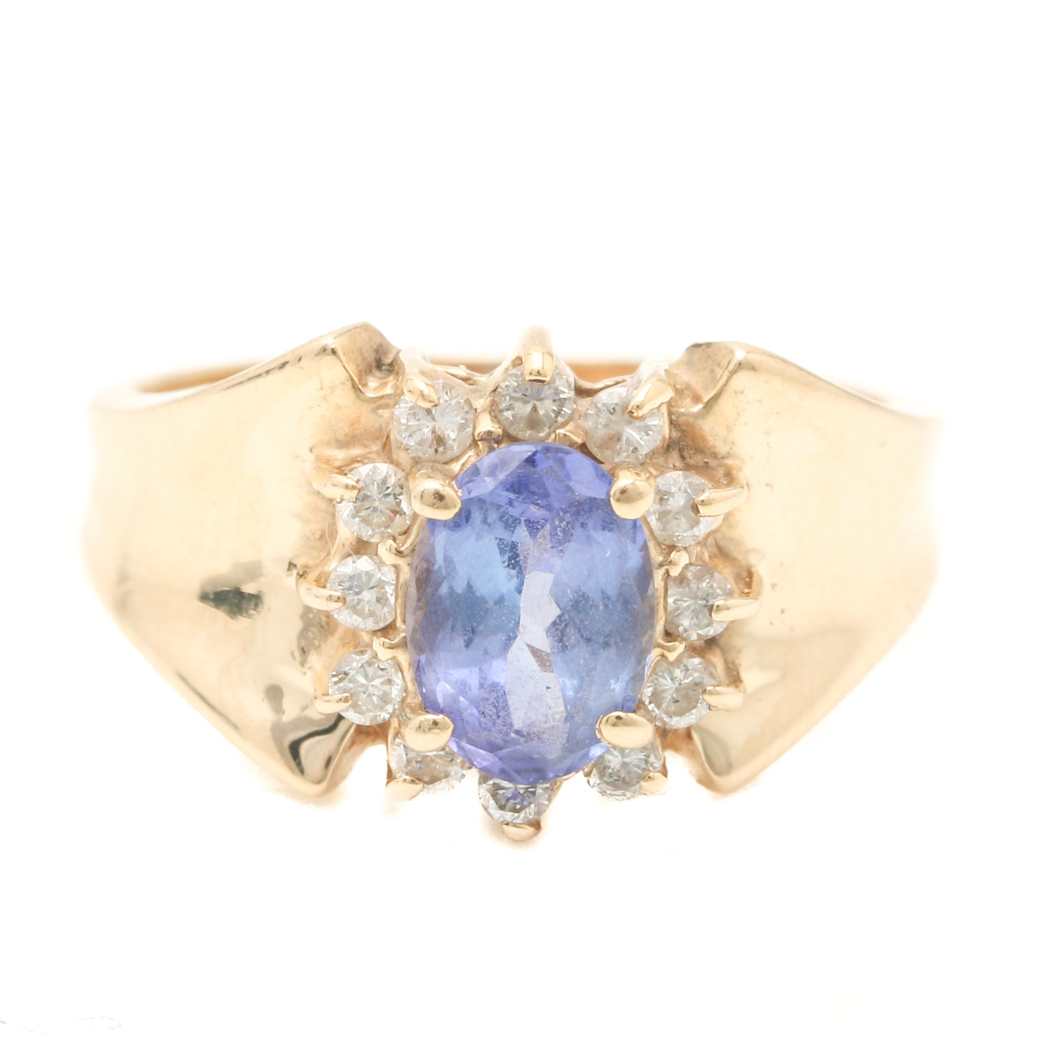 14K Yellow Gold Tanzanite Diamond Ring