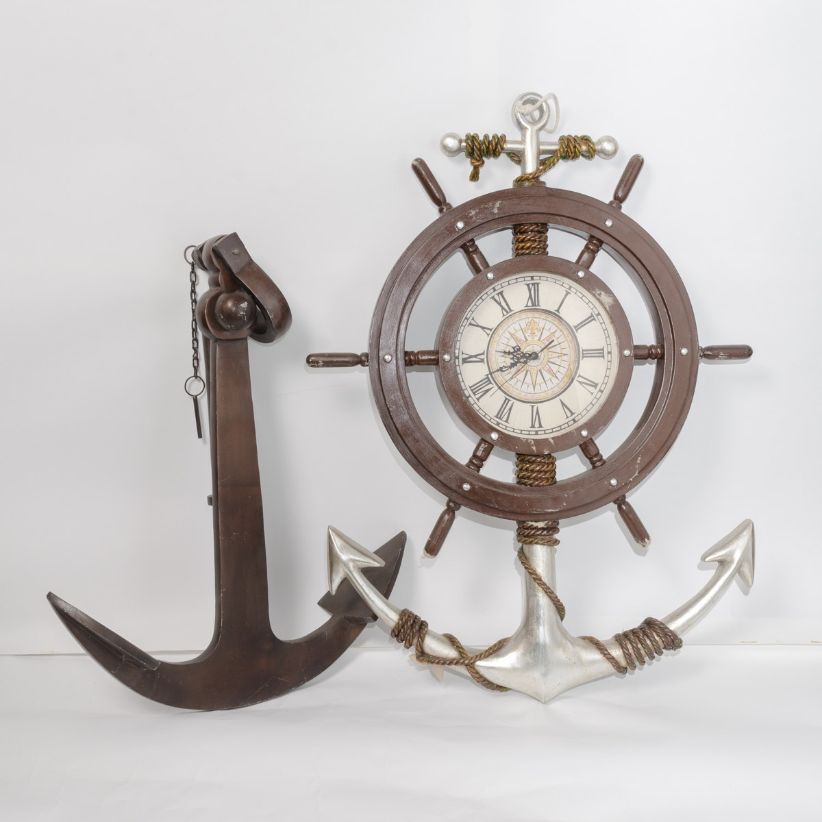 Nautical-Themed Wall Clock and Anchor