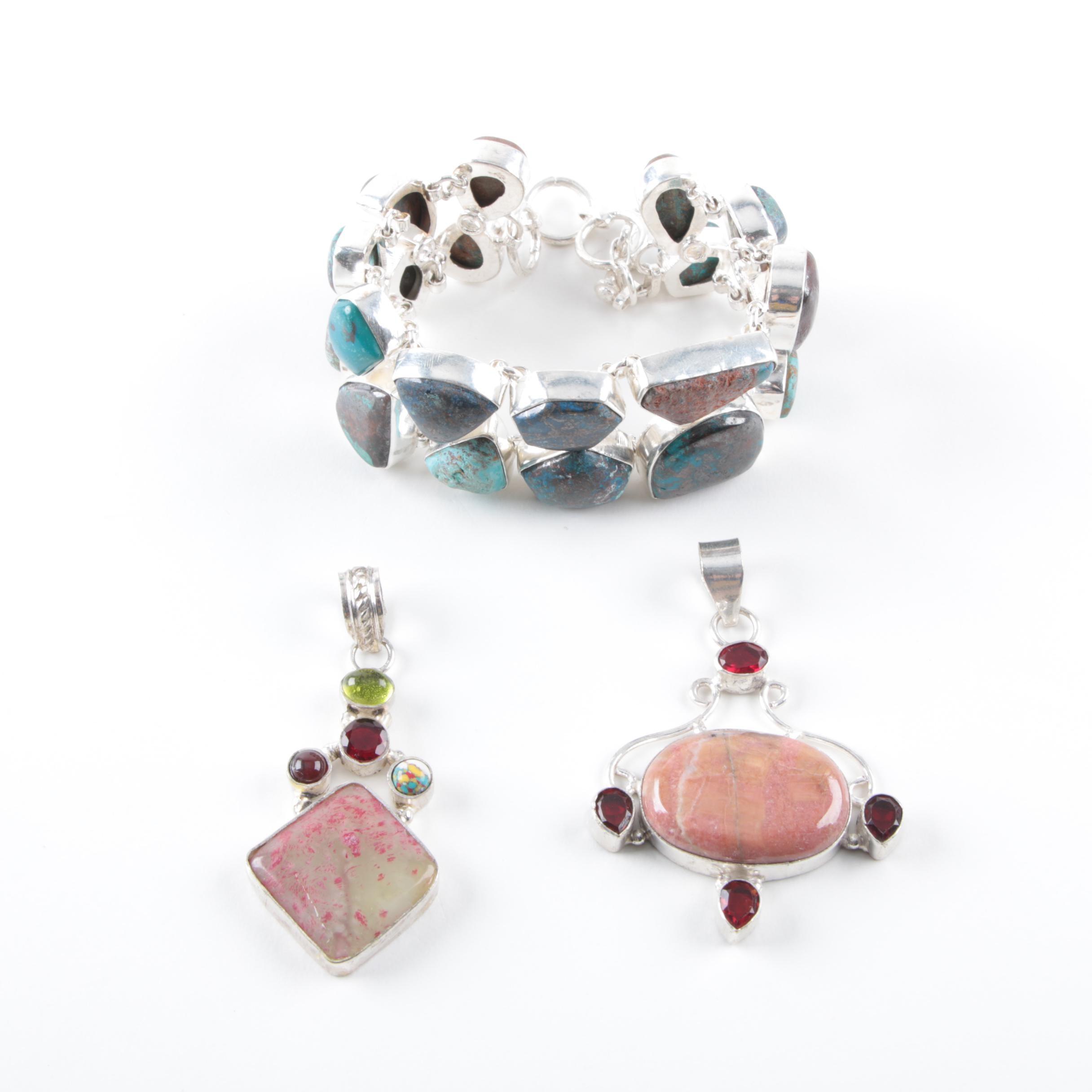 Sterling Silver Bracelet and Pendants