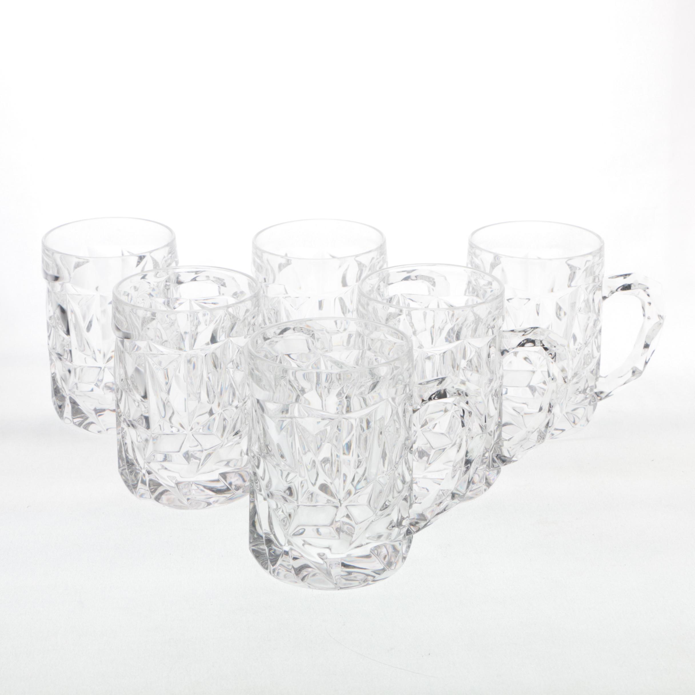 """Tiffany & Co. """"Rock Cut"""" Crystal Beer Mugs"""