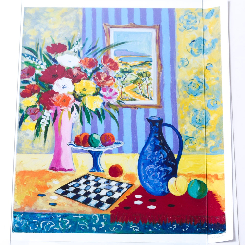 After Jean-Claude Picot Offset Lithograph Still Life