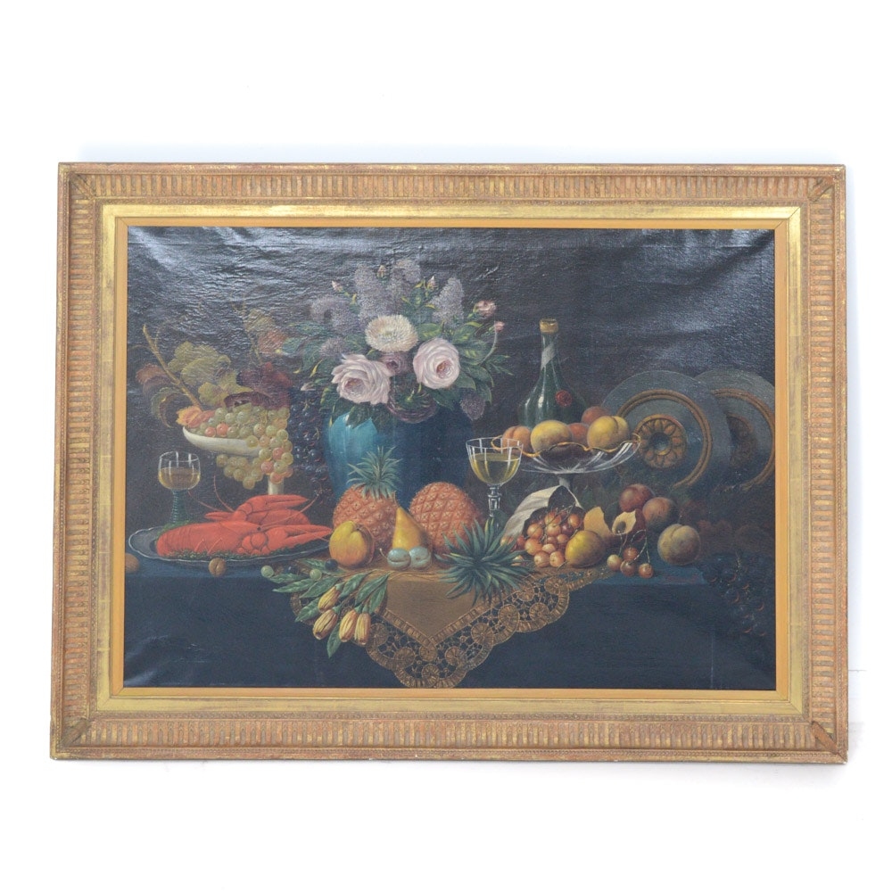 "Joseph Becker Antique Oil on Canvas ""Still Life with Lobster and Fruit"""