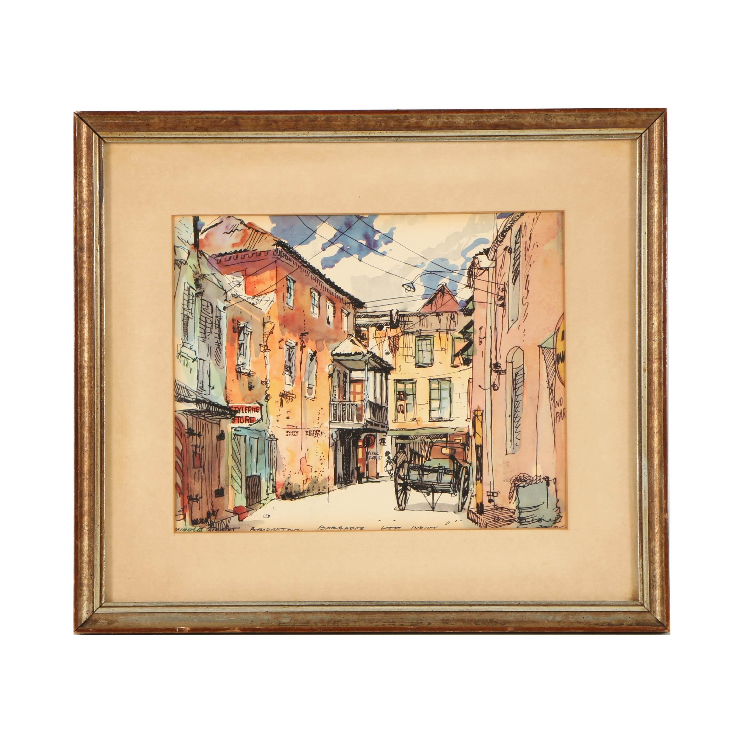 "Offset Lithograph ""Middle Street, Bridgetown, Barbados"""