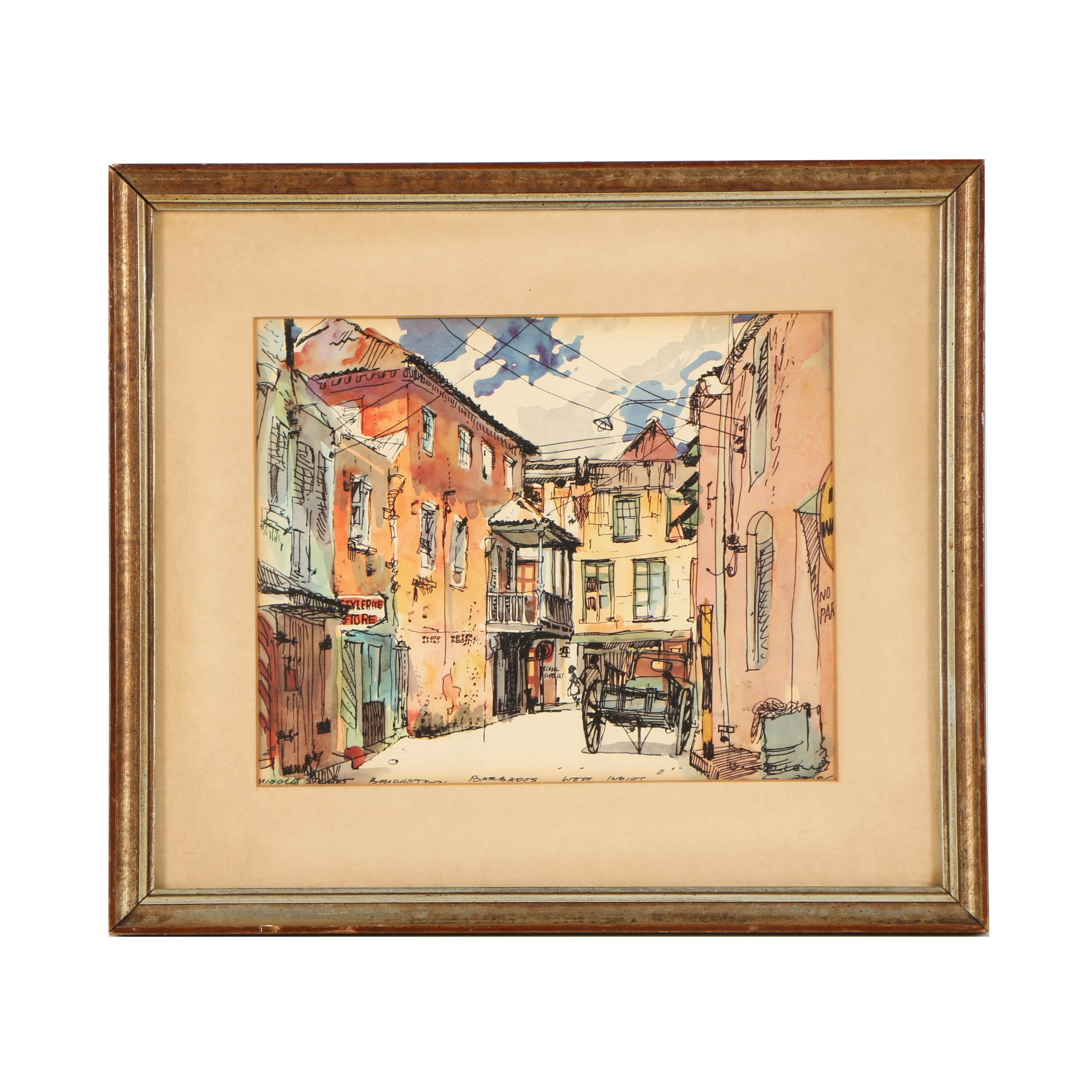 "Offset Lithograph ""Middle Street, Bridgetown, Barbados"""