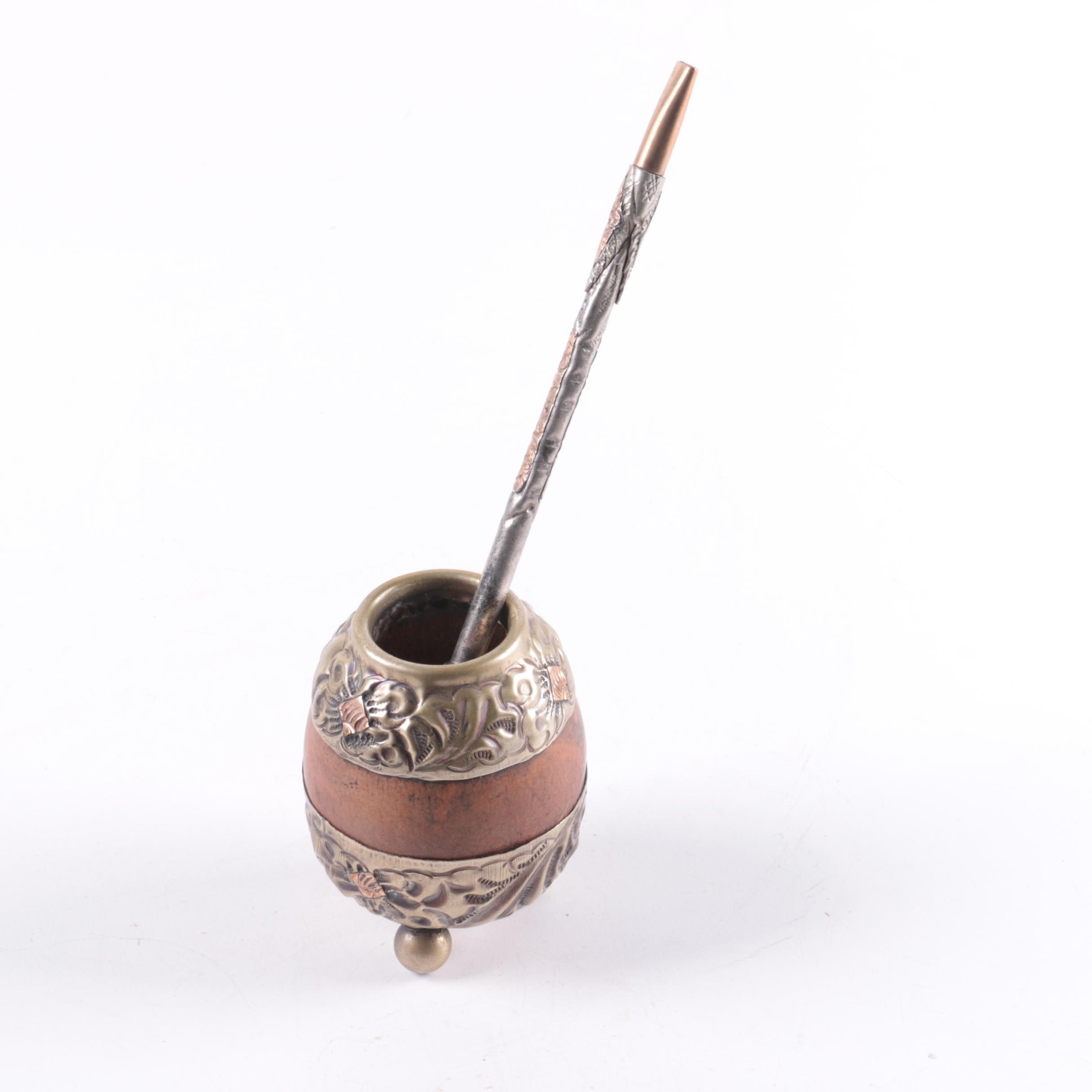 Alpaca Silver-Plated Yerba Mate Cup and Bambilla