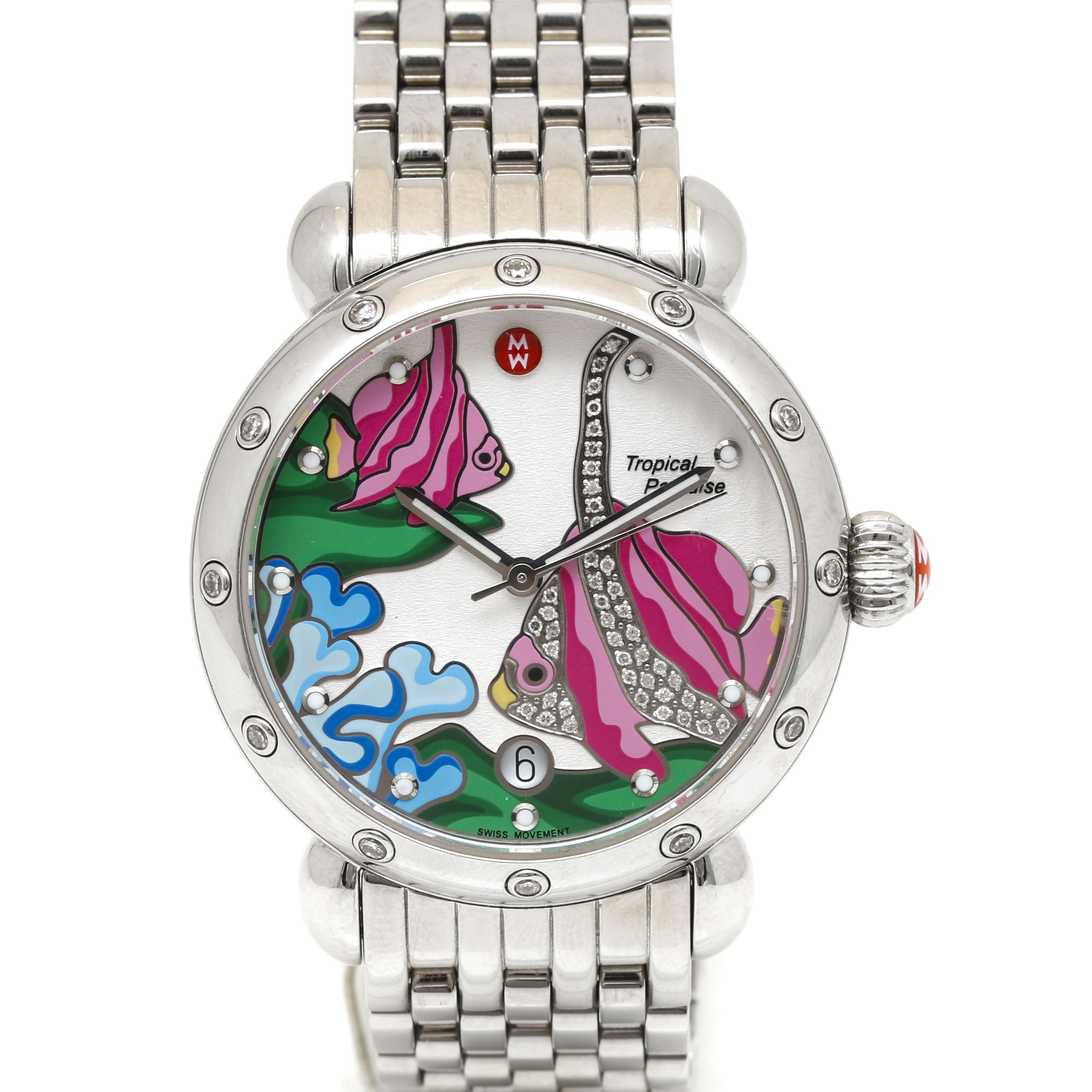 "Michele ""Tropical Paradise"" Stainless Steel Wristwatch With Diamond Accents"