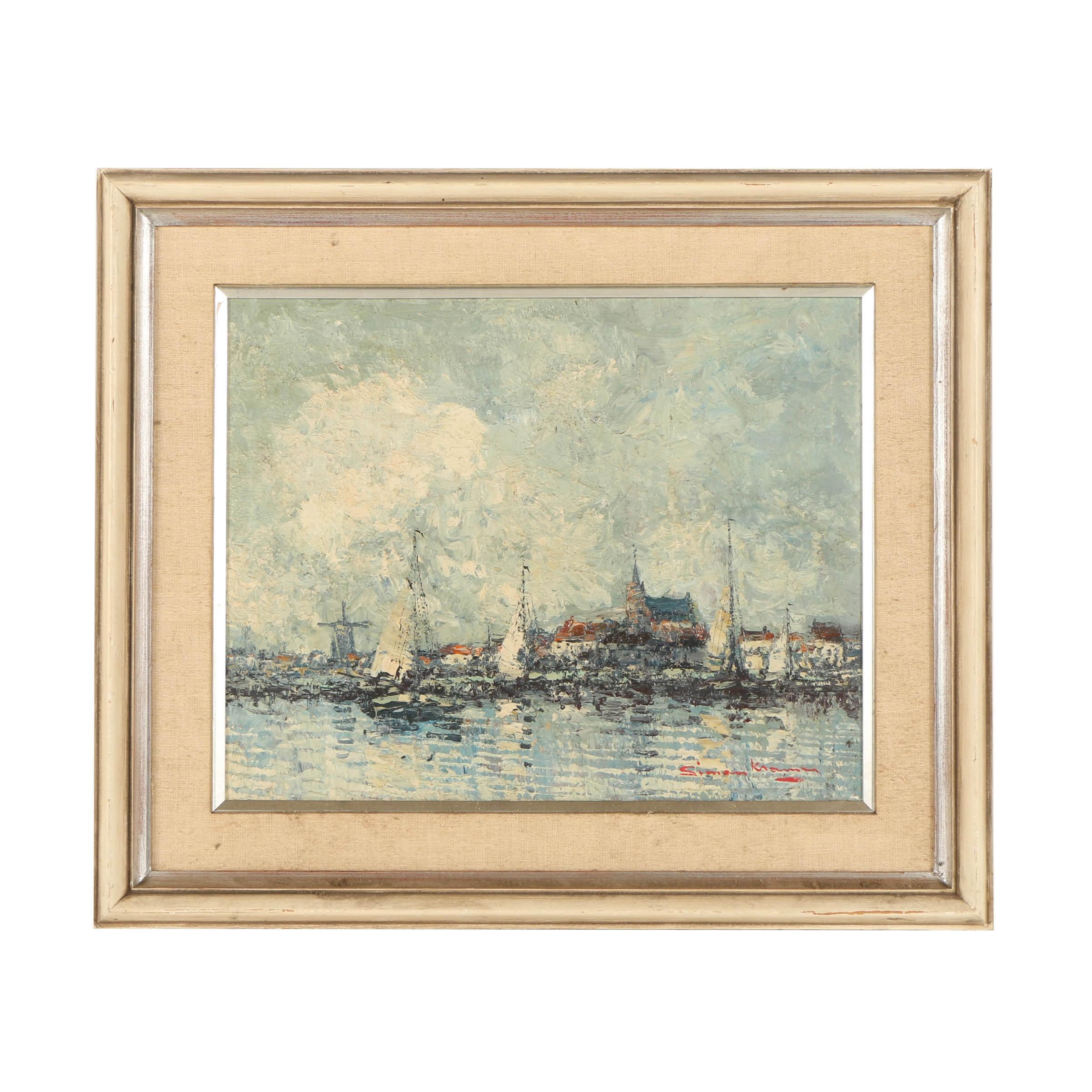 """Simon Kromer Oil Painting """"Paris Boat Scene"""""""