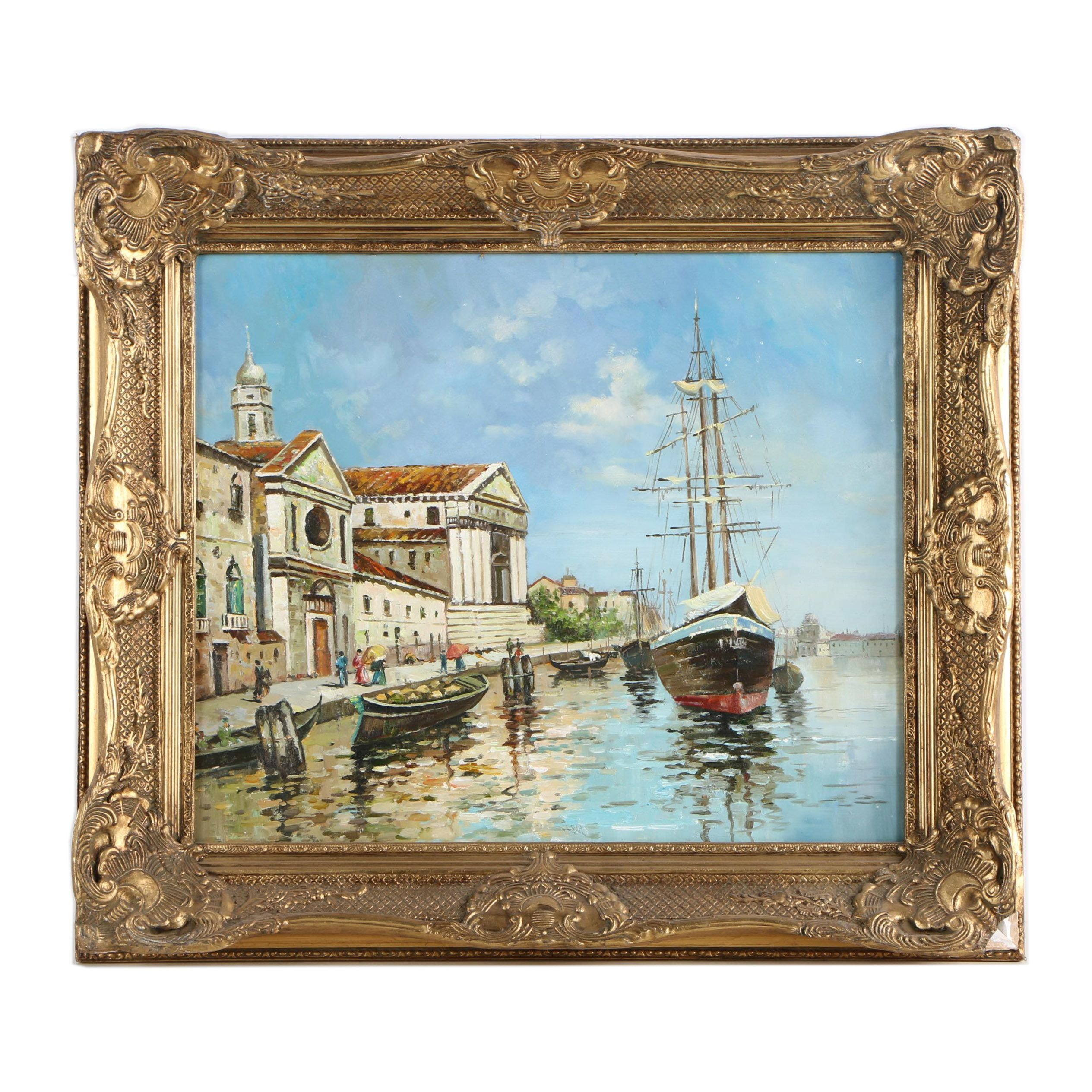 Oil Painting of a Harbor Scene
