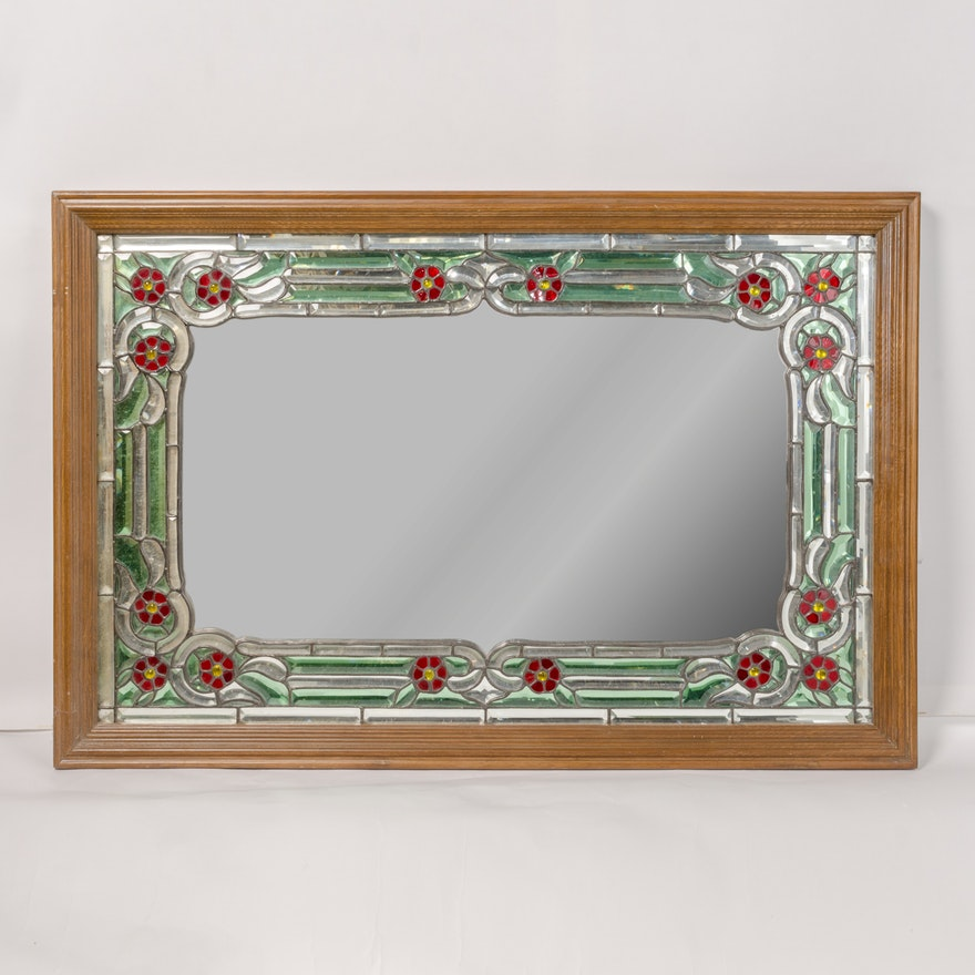 Wood Framed Mirror With Stained Gl Style Fl Motif