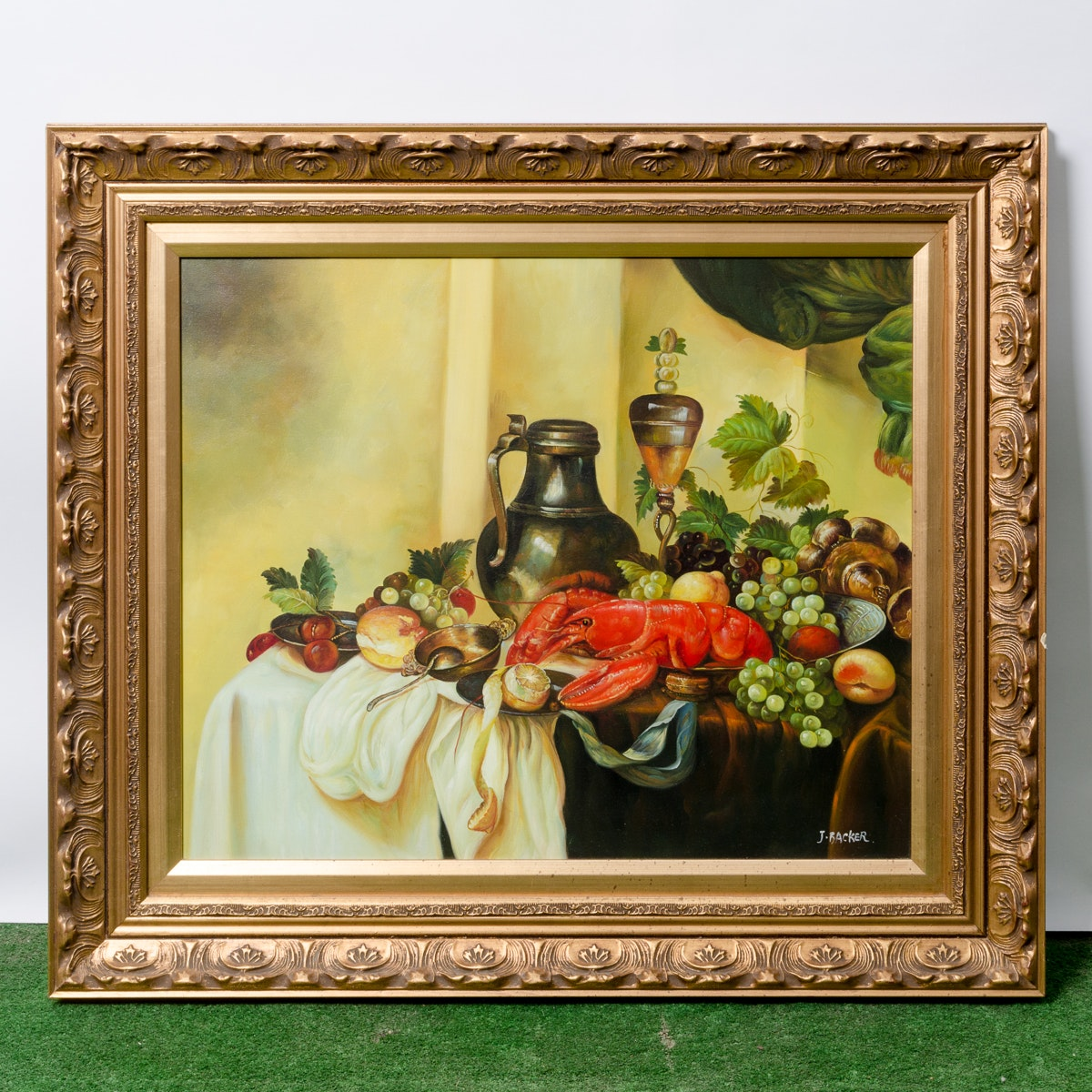 J. Backer Contemporary Oil Painting of Still Life with Fruit and Lobster