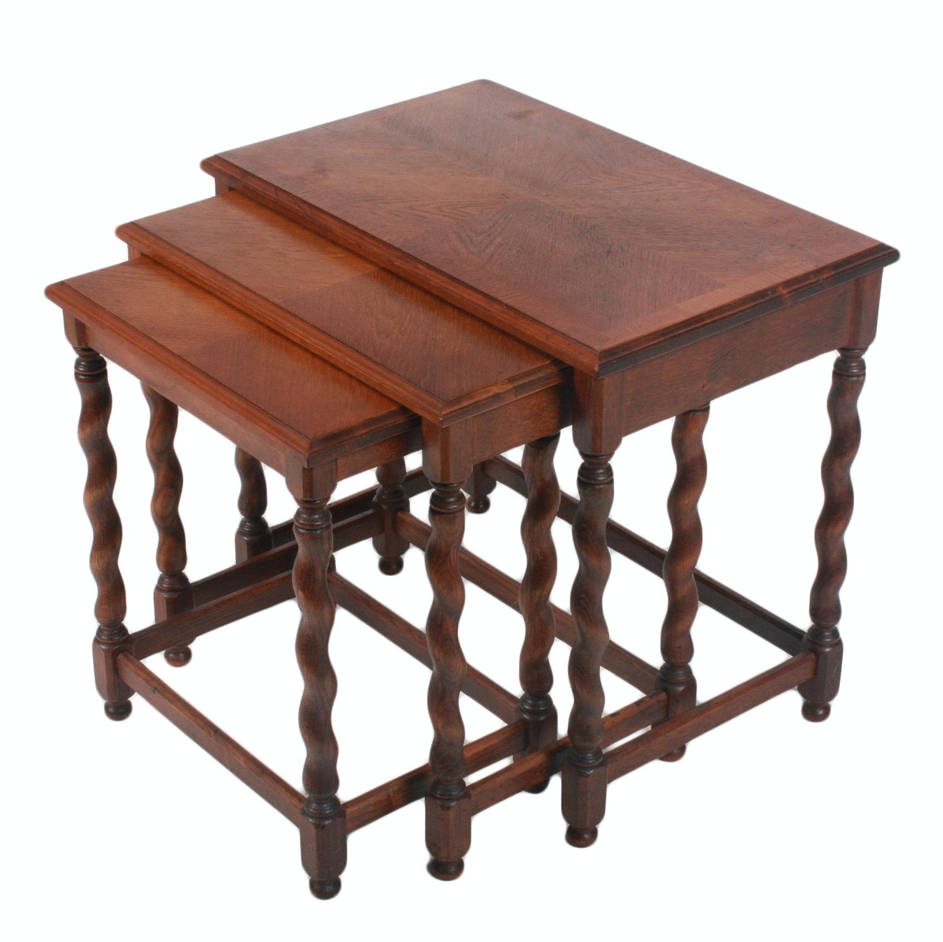 Set of Walnut Nesting Tables with Barley Twist Legs