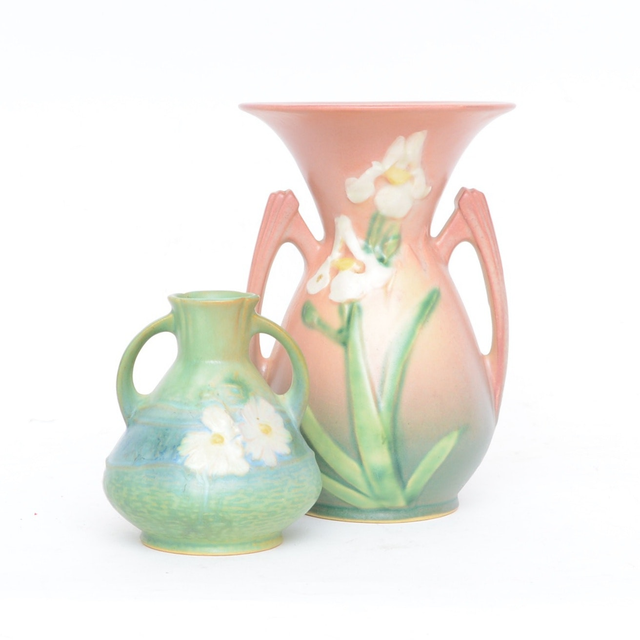 "Roseville Pottery Vases including ""Cosmos"" and ""Iris"""