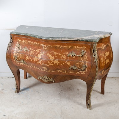 Louis XV Style Marquetry Bombé Chest of Drawers - Online Furniture Auctions Vintage Furniture Auction Antique