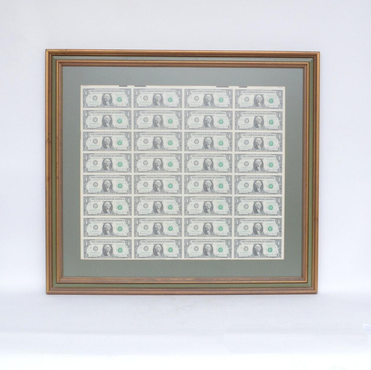 Framed Uncut Sheet of Series 1981 $1 Federal Reserve Notes