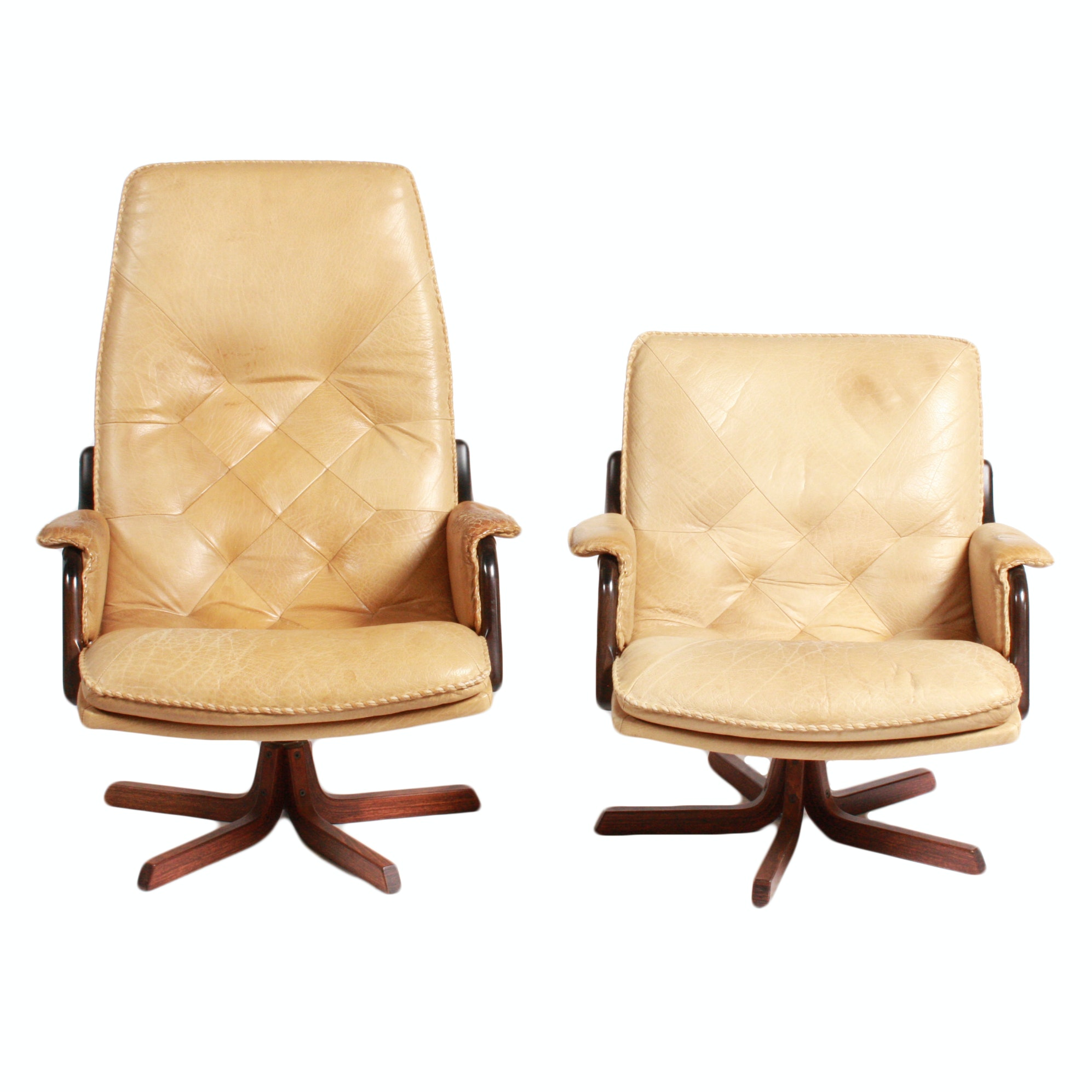 Danish Modern Blonde Leather Office Chairs