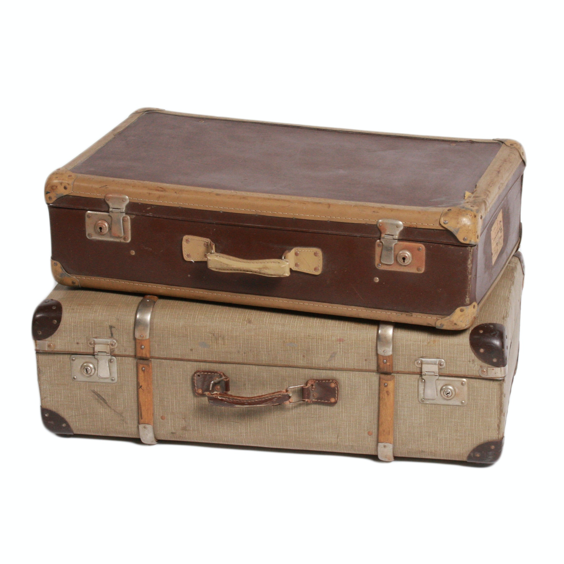 Vintage Brown and Tan Suitcases