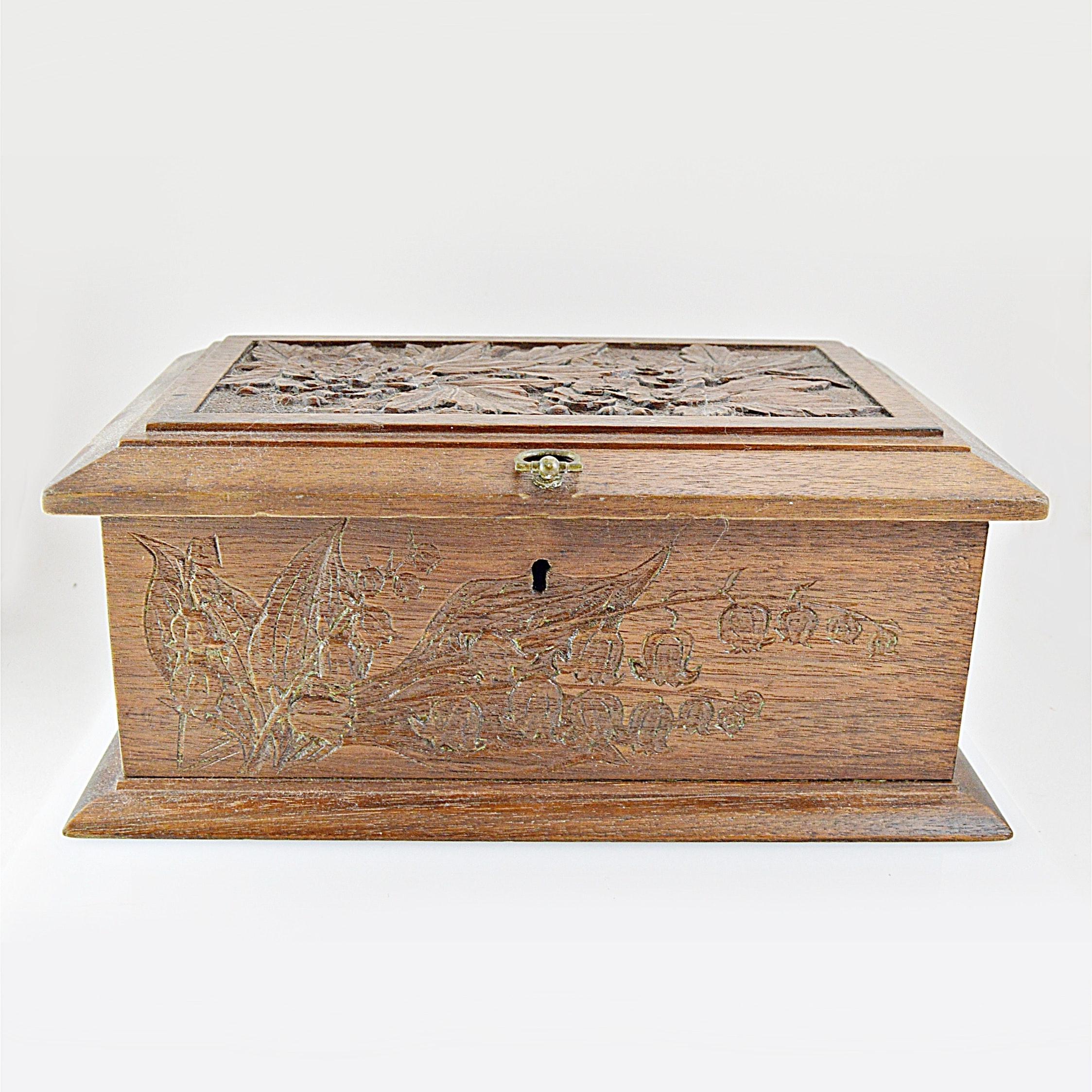 Antique Carved Walnut Box