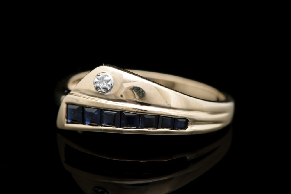 10K Two-Tone Gold, Blue Sapphire and Diamond Ring