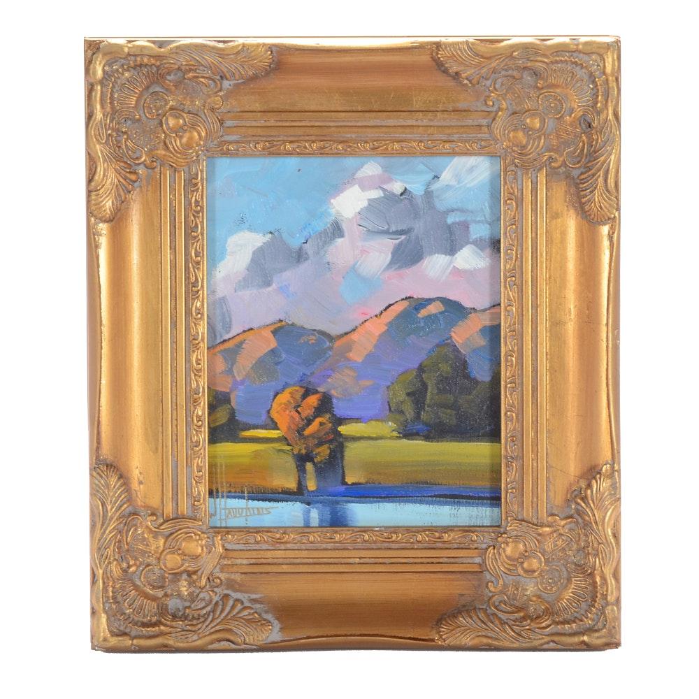 William Hawkins Signed Original Oil Painting of a Landscape
