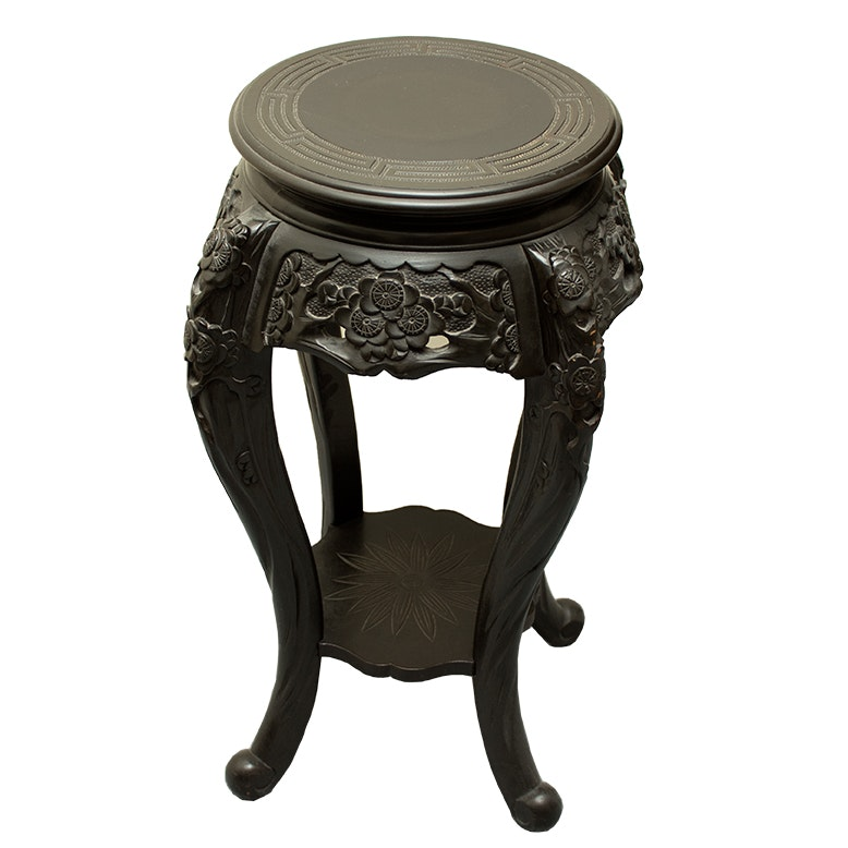 Carved Wood Chinese Pedestal