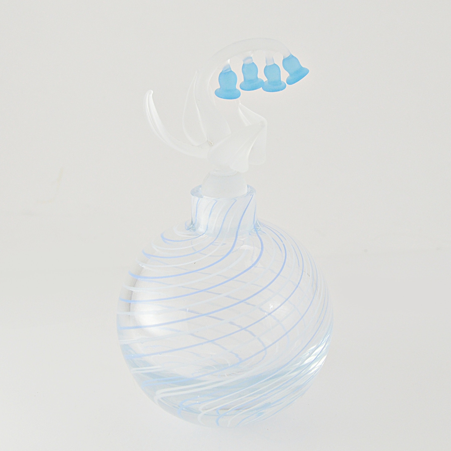 1950s Golden Crown Swirl Glass Perfume Bottle