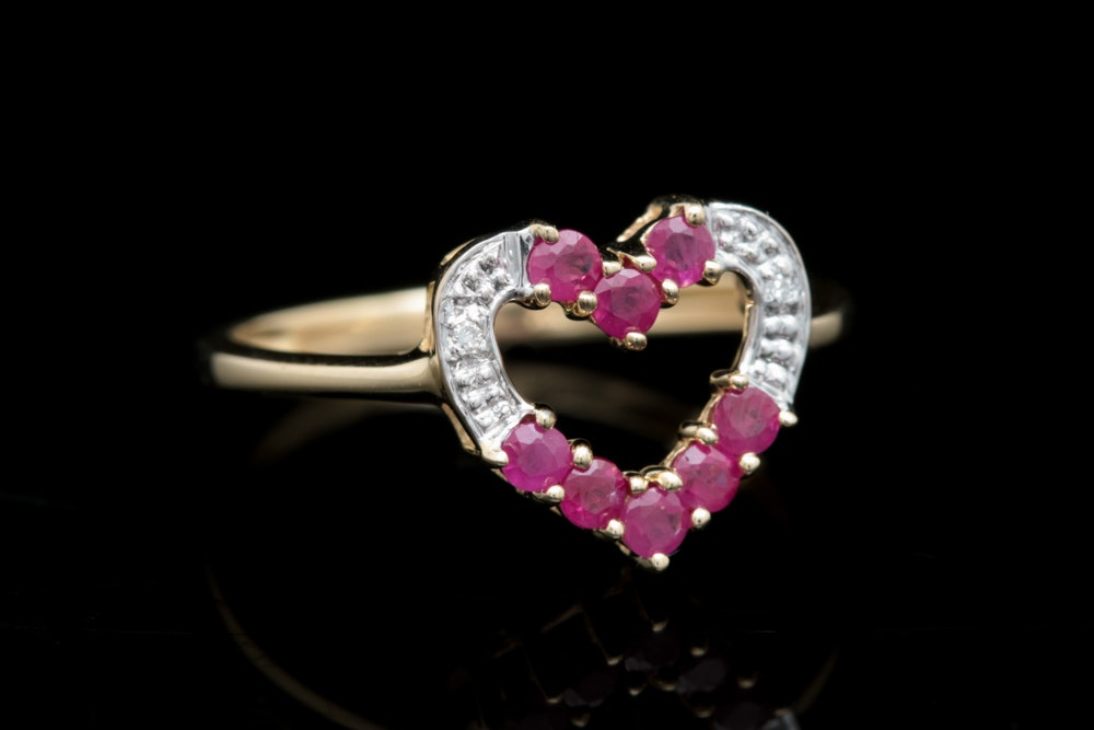 10K Yellow Gold Ruby and Diamond Open Heart Ring EBTH