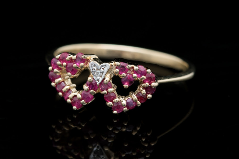 10K Yellow Gold Ruby and Diamond Double Heart Ring EBTH