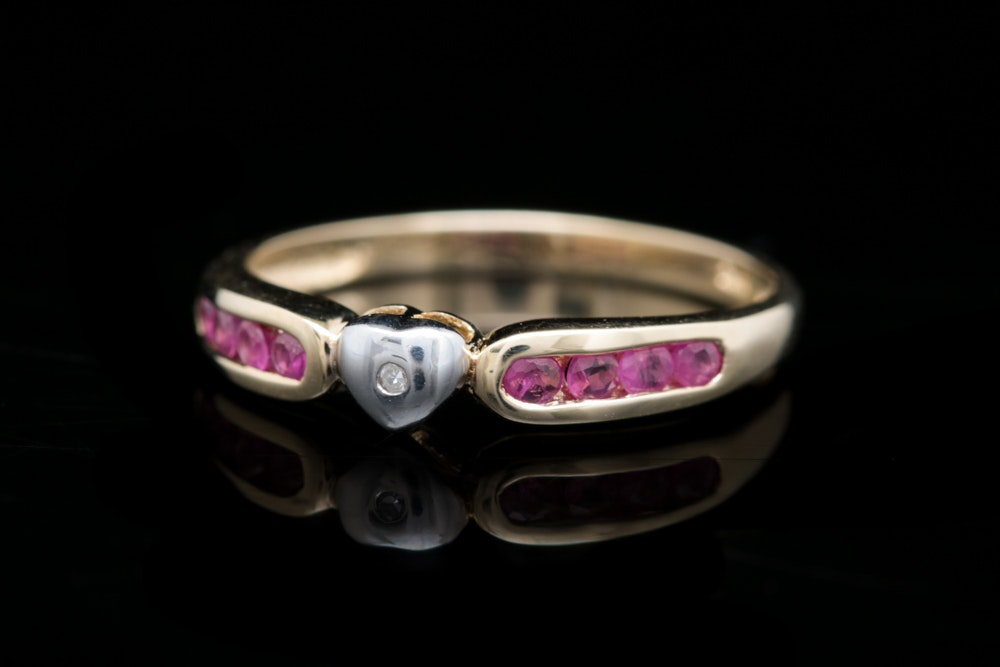 10K Yellow Gold, Diamond and Ruby Heart Ring