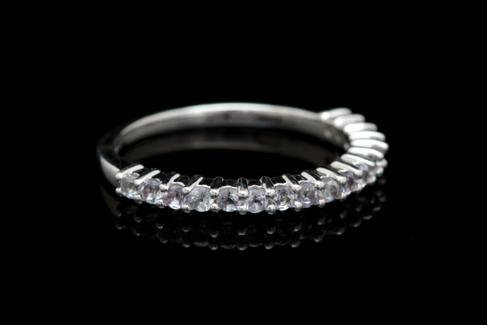 10K White Gold and Zircon Ring