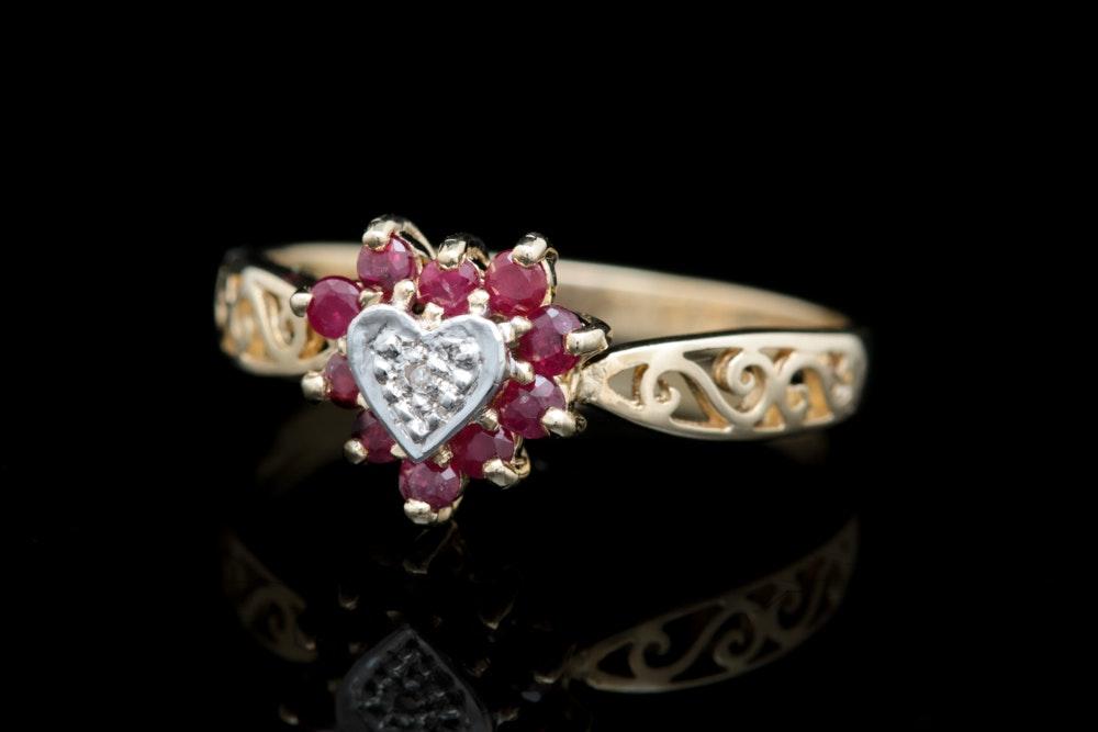 10K Yellow Gold, Ruby and Diamond Heart Filigree Ring