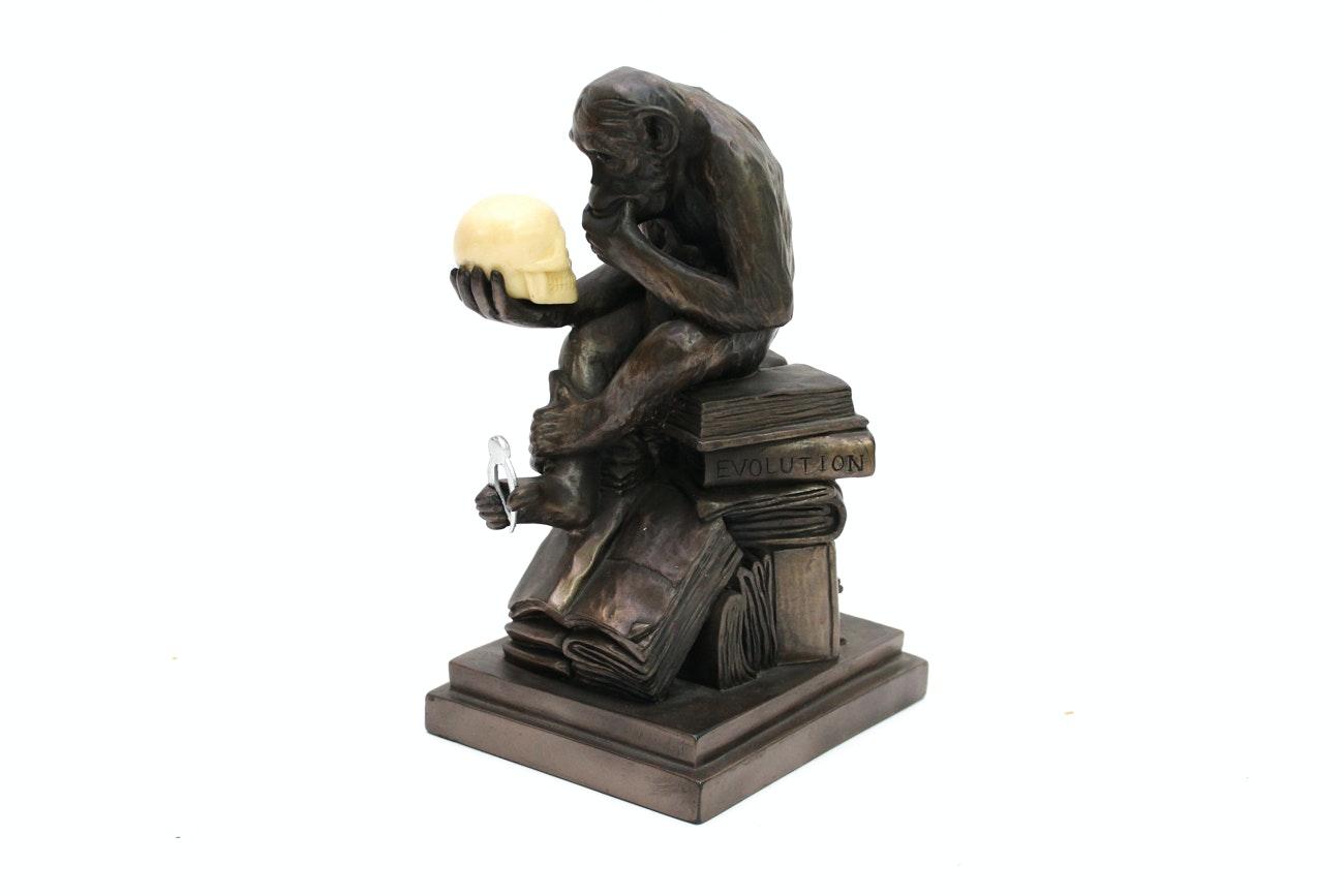 Bronze Darwin Chimpanzee Sculpture