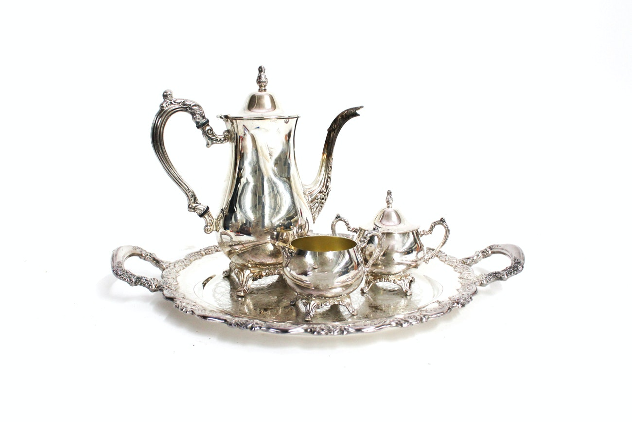Oneida Silver Plate Coffee Set with Tray