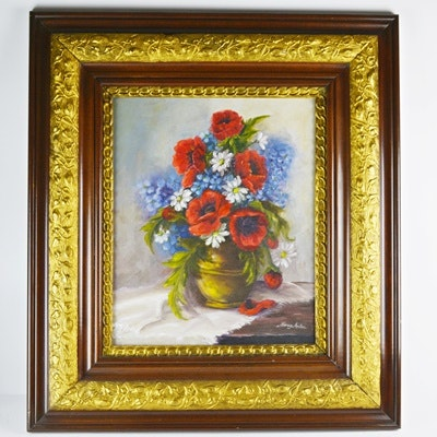 Nancy Anton Oil Painting on Canvas of Floral Still Life