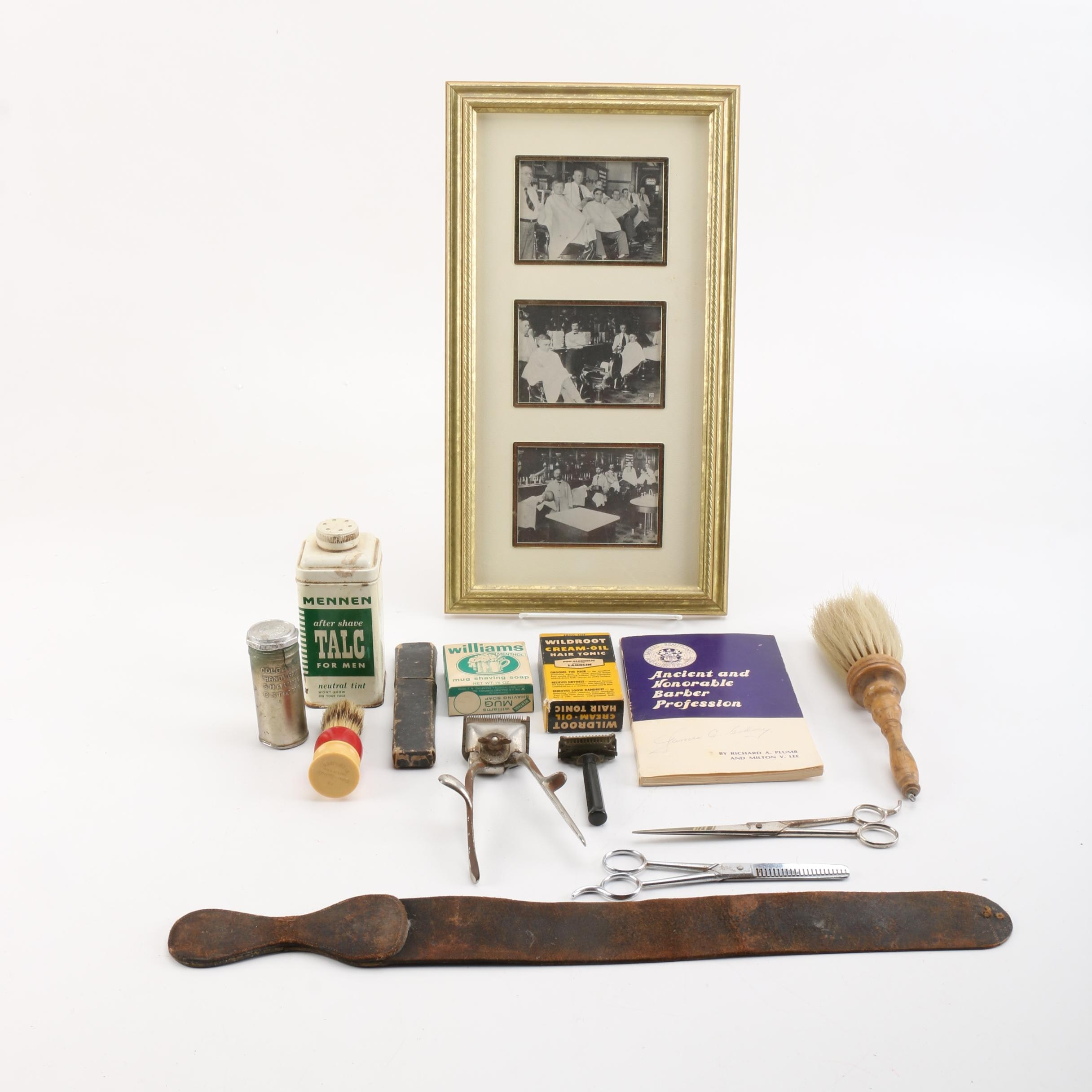 Vintage Barber Supplies, Including Straight Razor, Brushes and Clippers