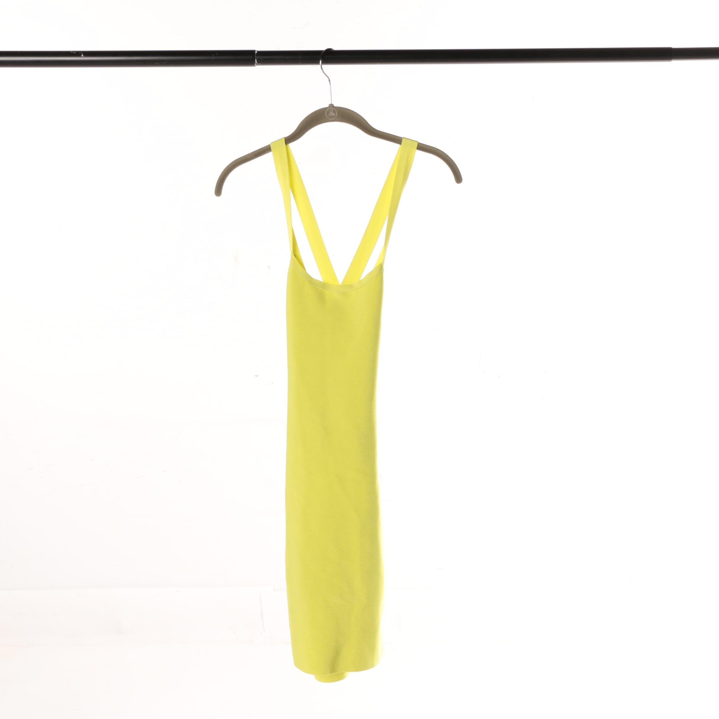 Herve Leger Chartreuse Ribbed Body-Con Dress