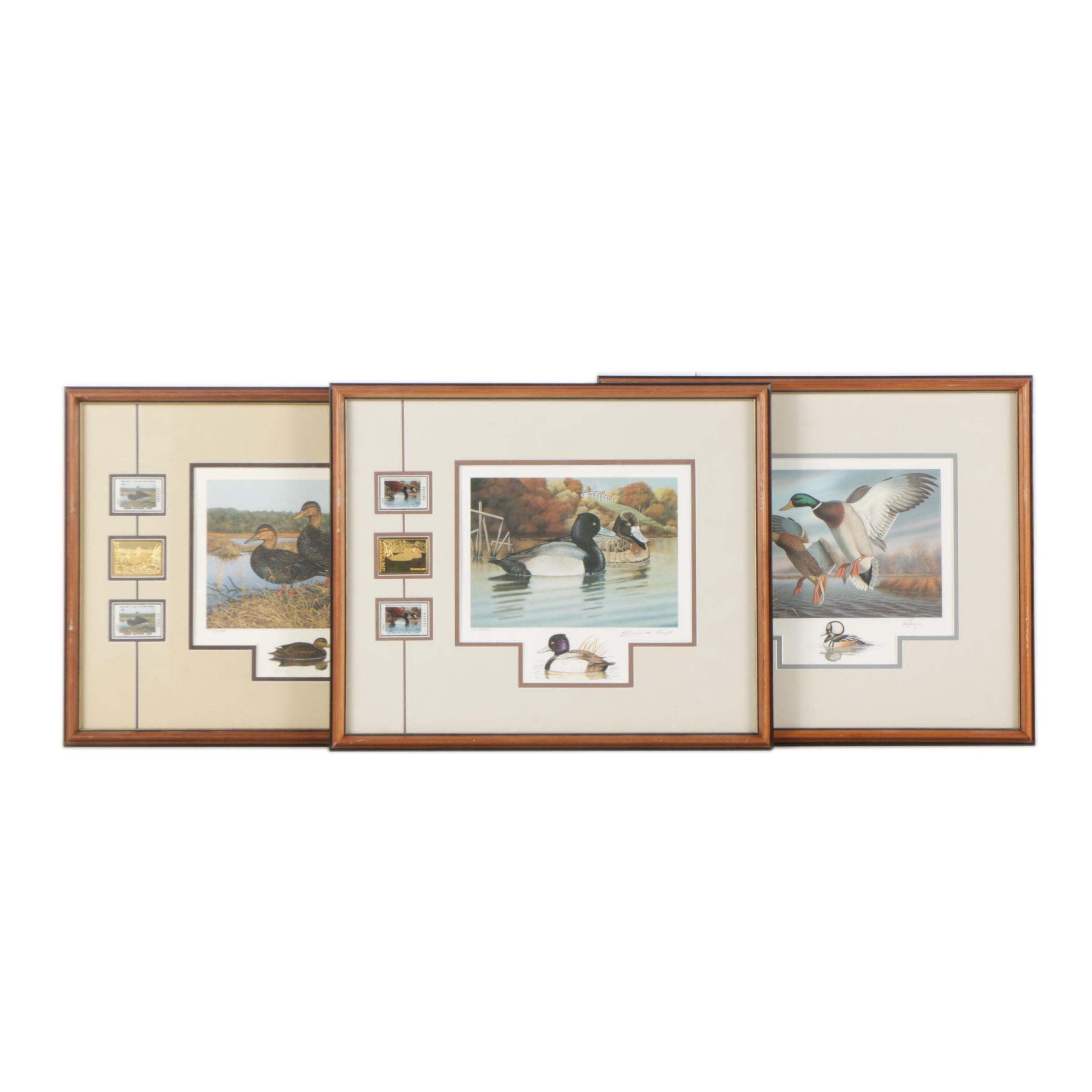 Limited Edition Offset Lithographs of Waterfowl with Commemorative Stamps