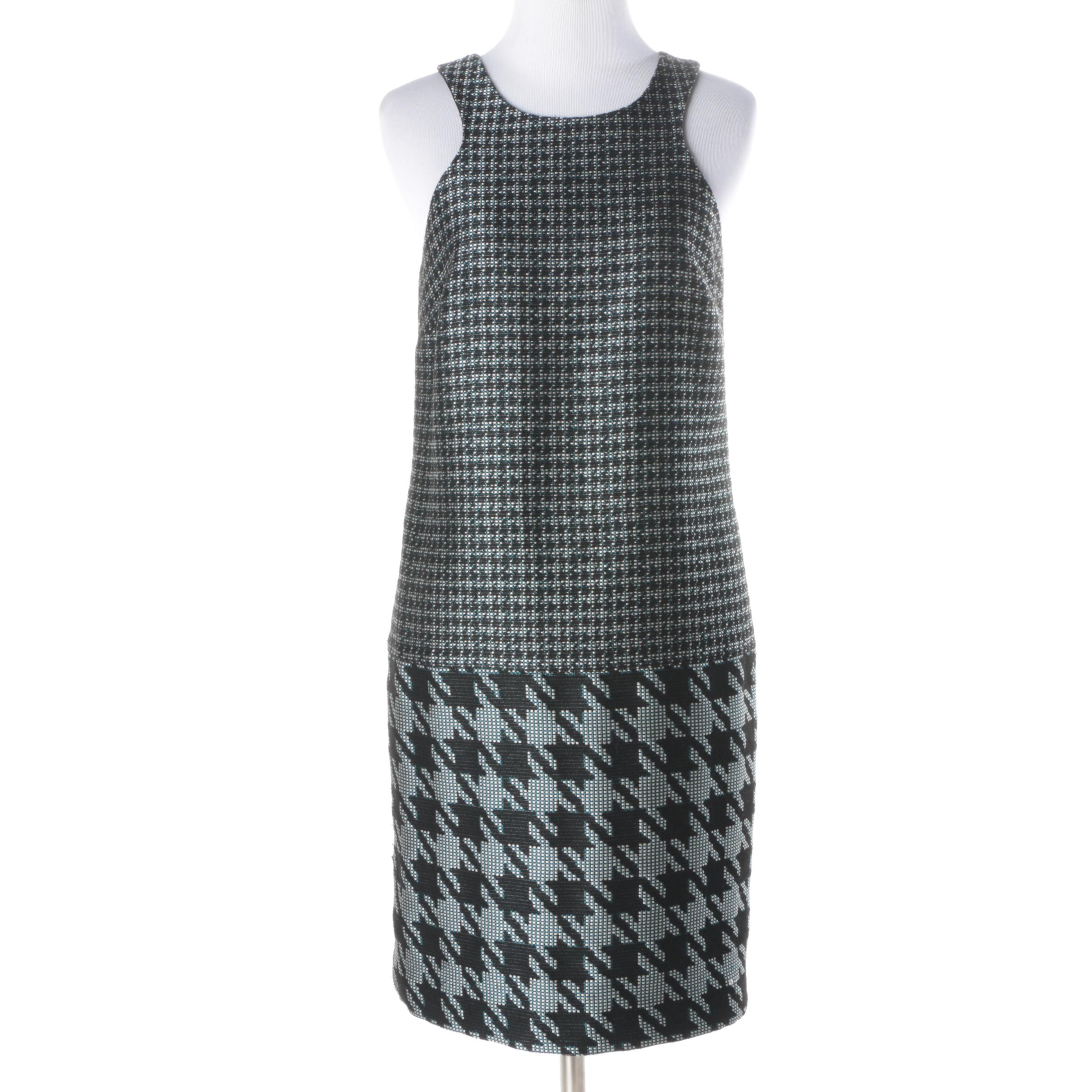 Trina Turk Teal and Black Houndstooth Dress