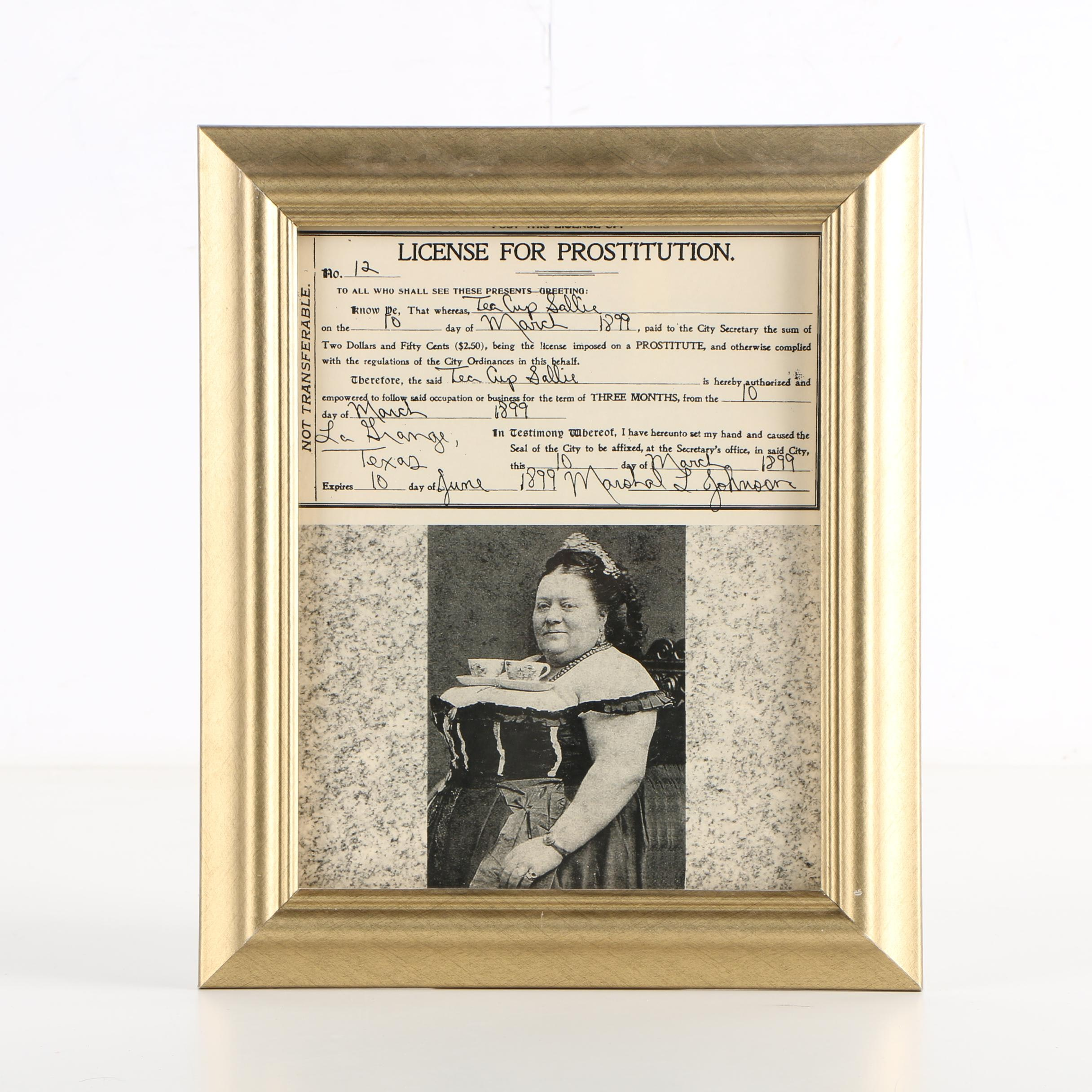 """Halftone Print """"License for Prostitution, Tea Cup Sallie"""""""