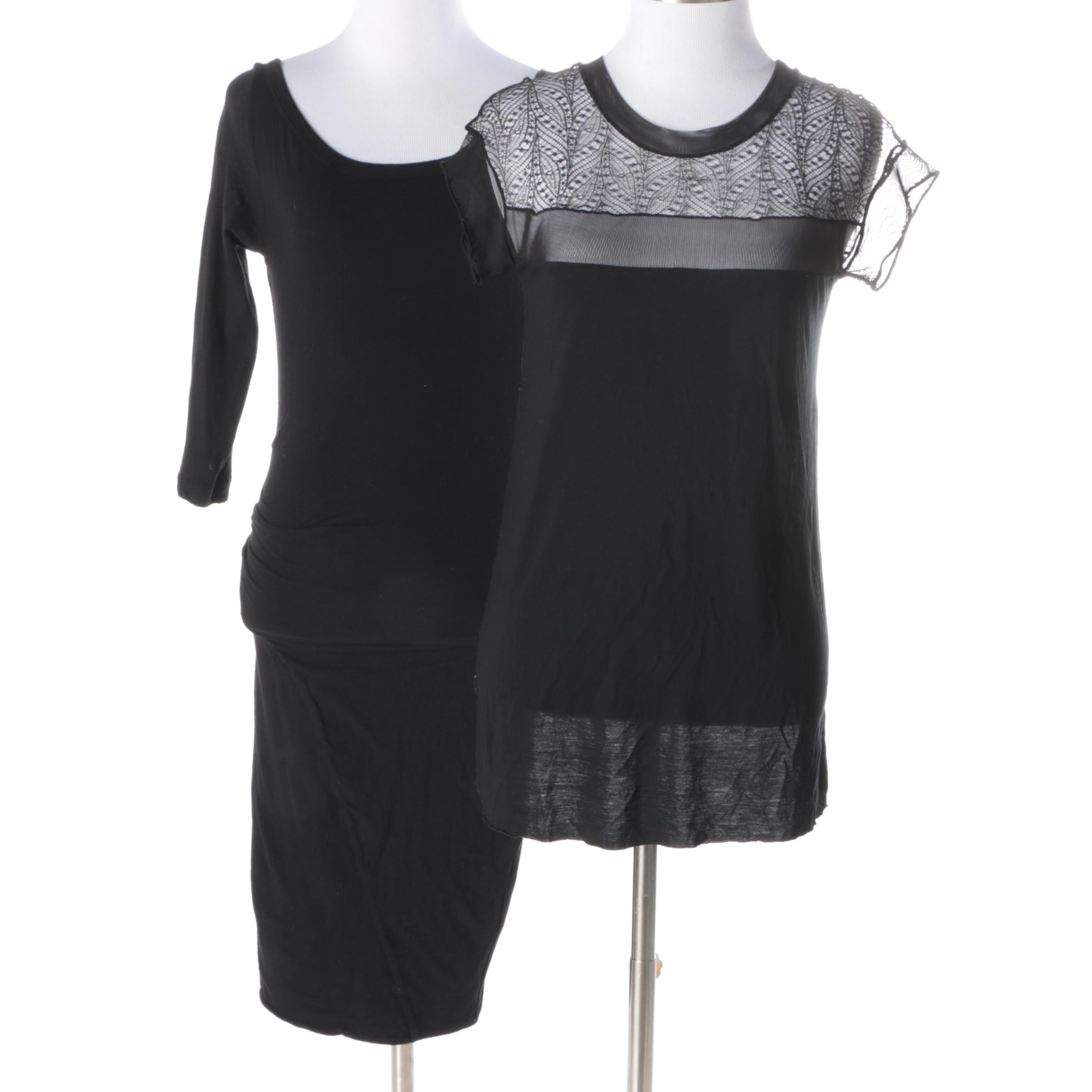 Standard James Perse Knit Dress and BCBG Max Azria Lace Top