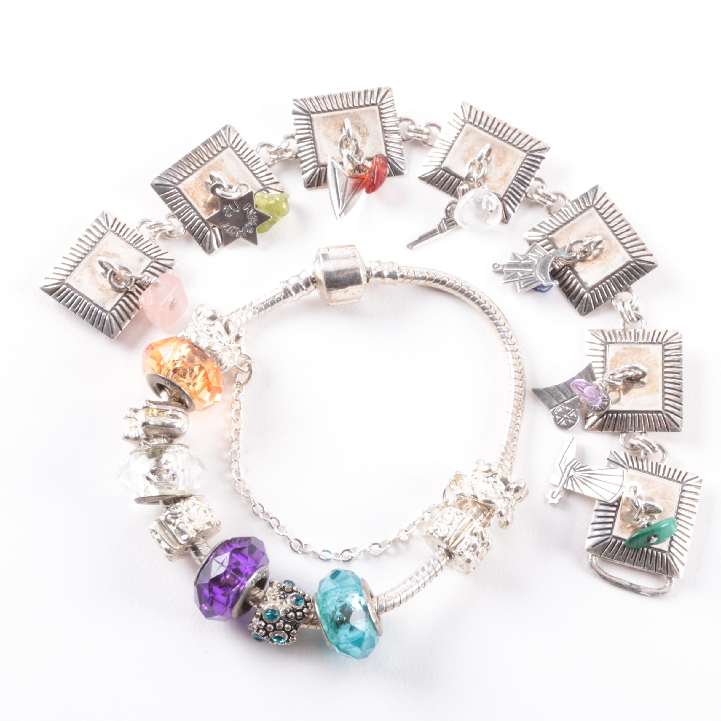 Sterling Silver Bracelets with Charms