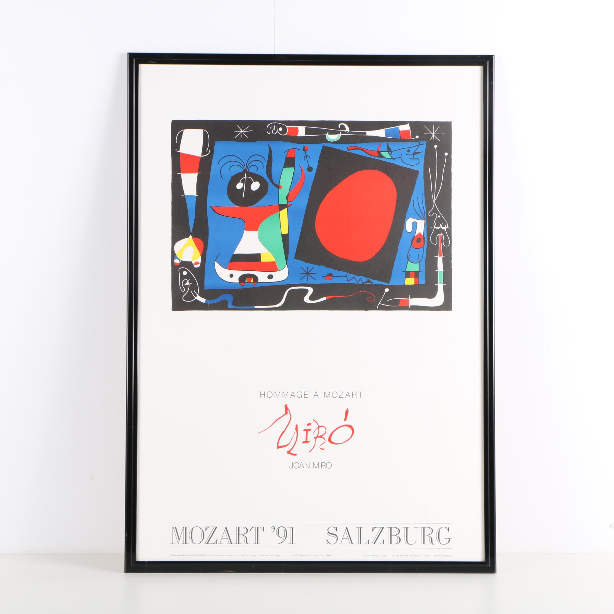 "Lithograph Poster ""Hommage A Mozart"" After Miro's ""Woman at the Mirror"""