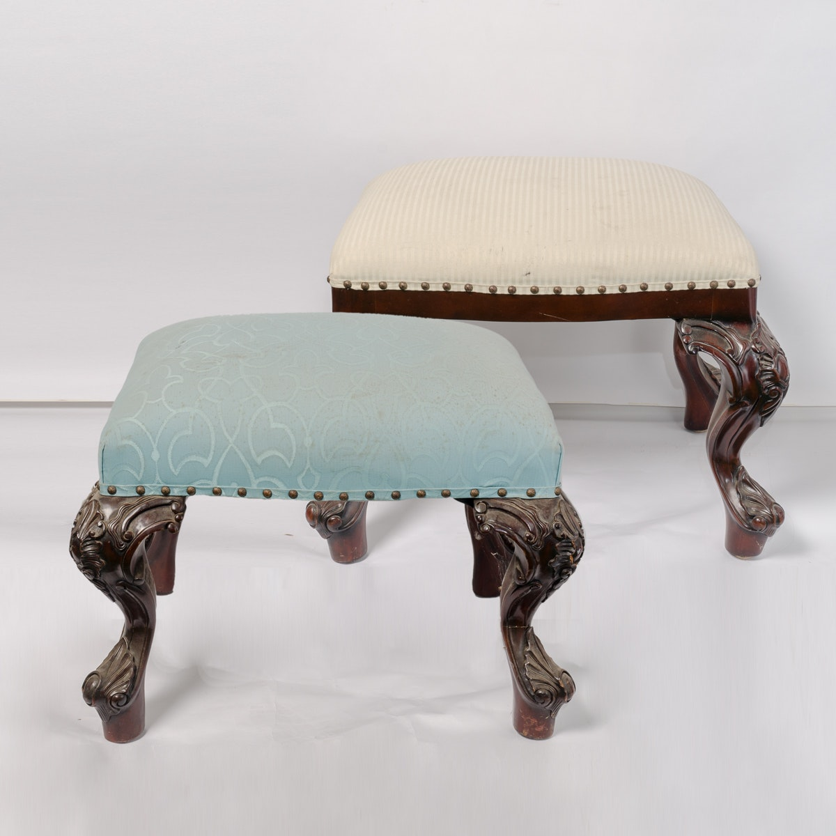 Chippendale Style Upholstered Footstools