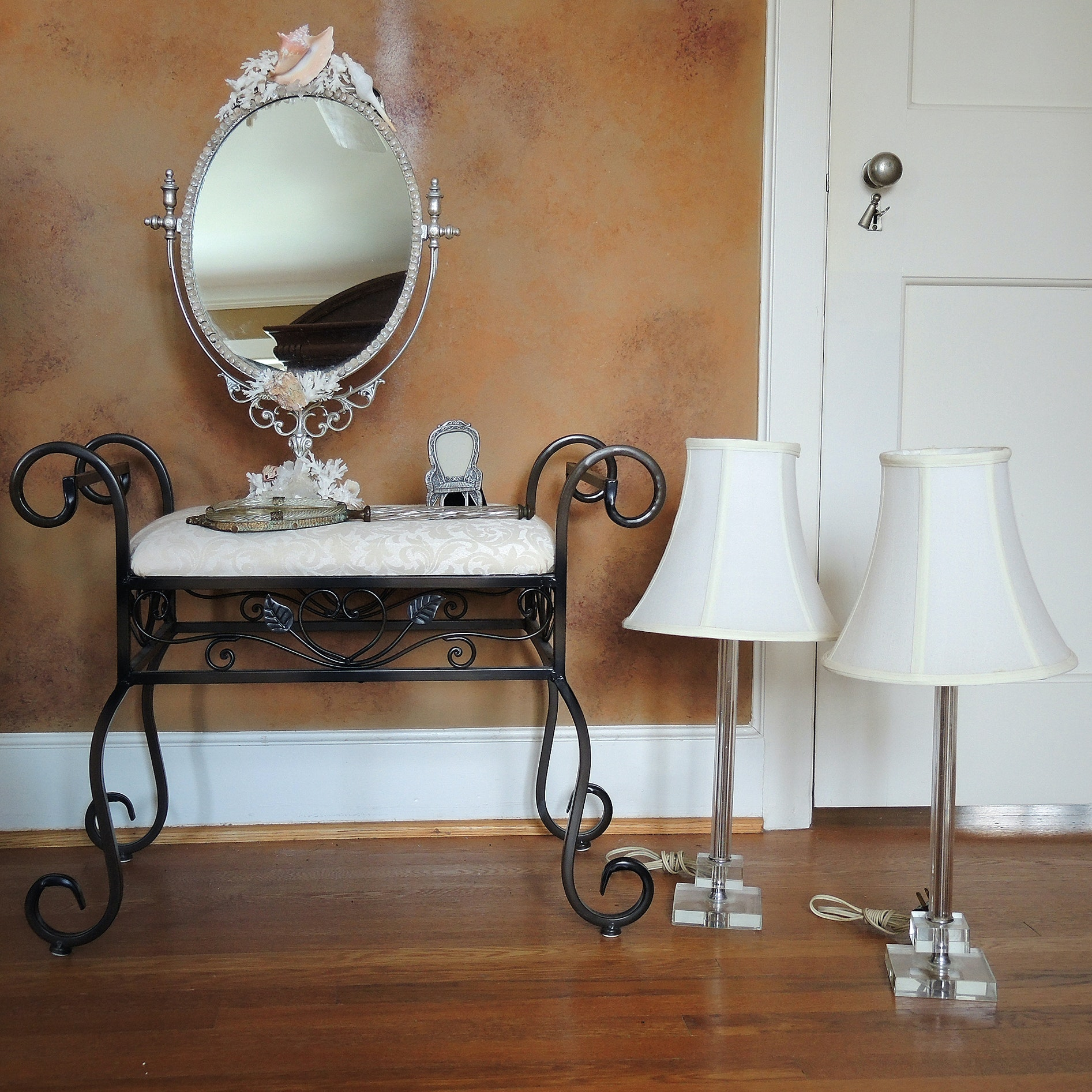Vanity Bench, Vintage Lamps and Accessories