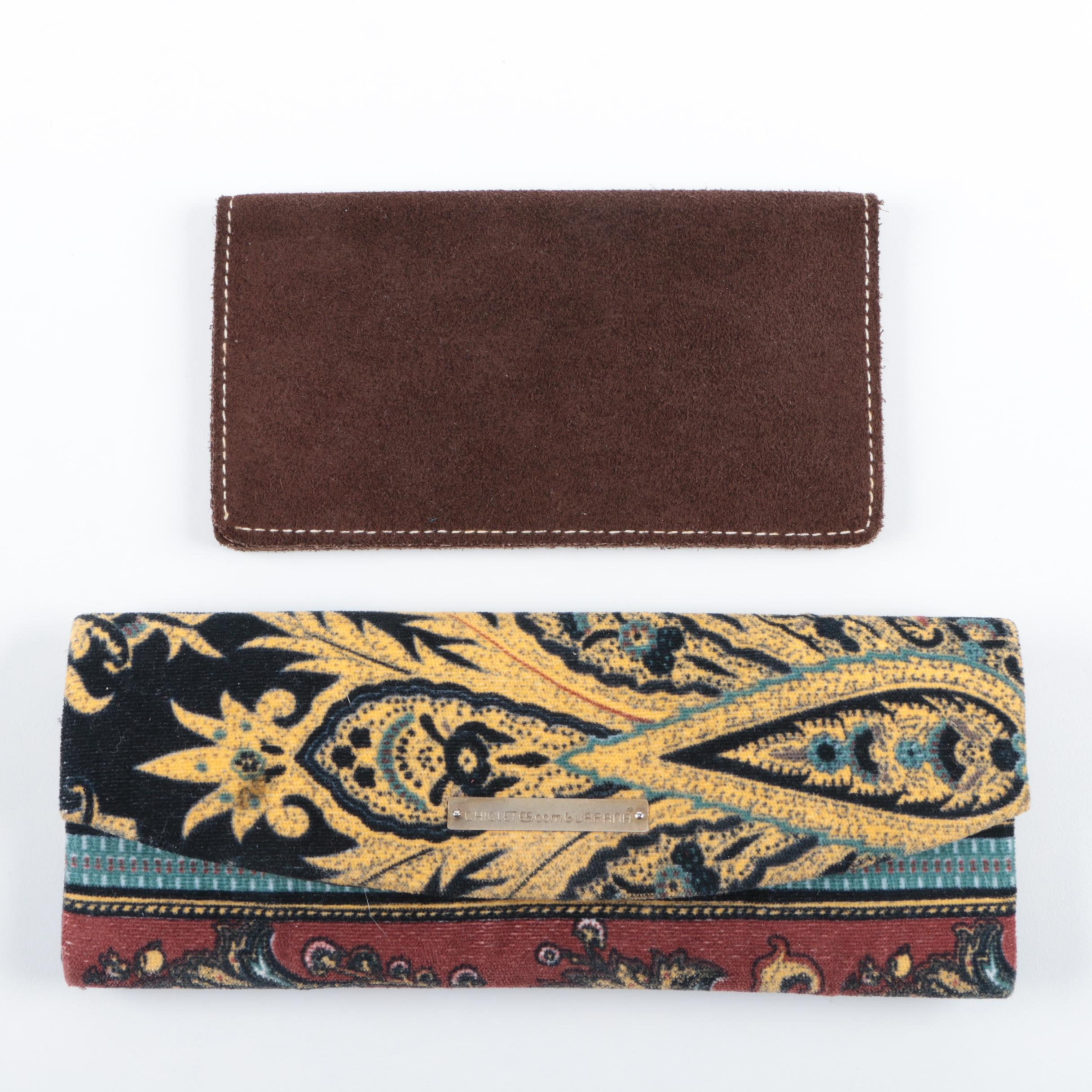 Chicletes com Guarana's Clutch with Brown Suede Checkbook Holder