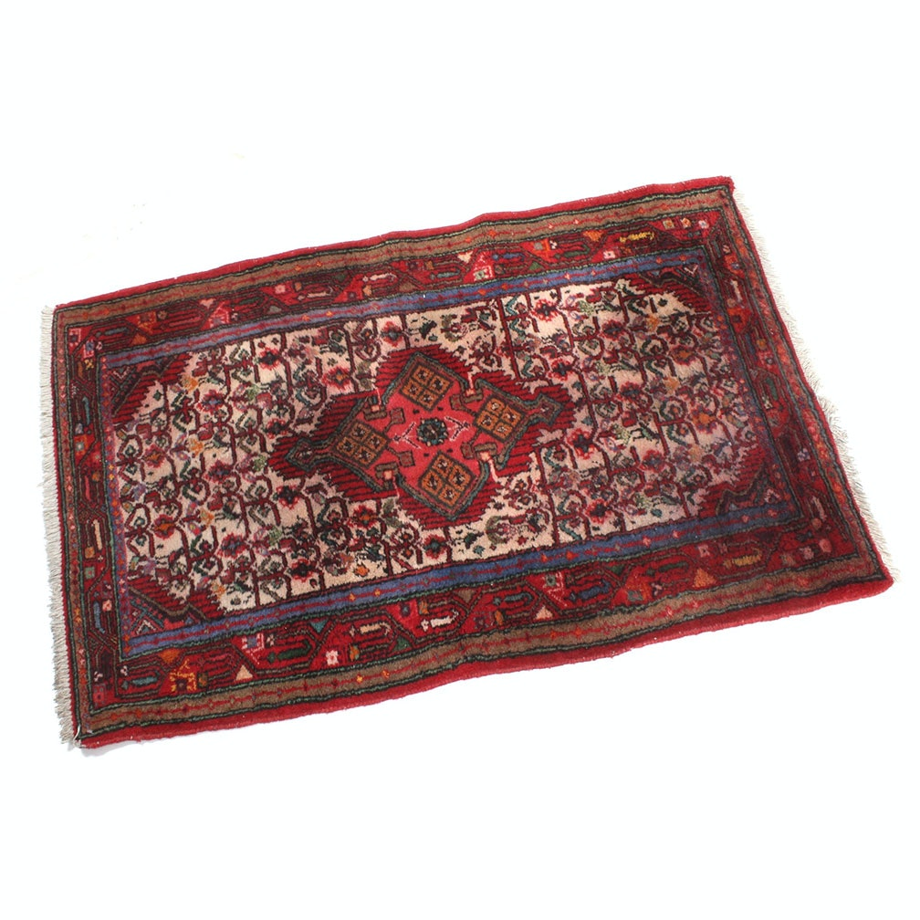 Semi-Antique Hand-Knotted Persian Zanjan Accent Rug