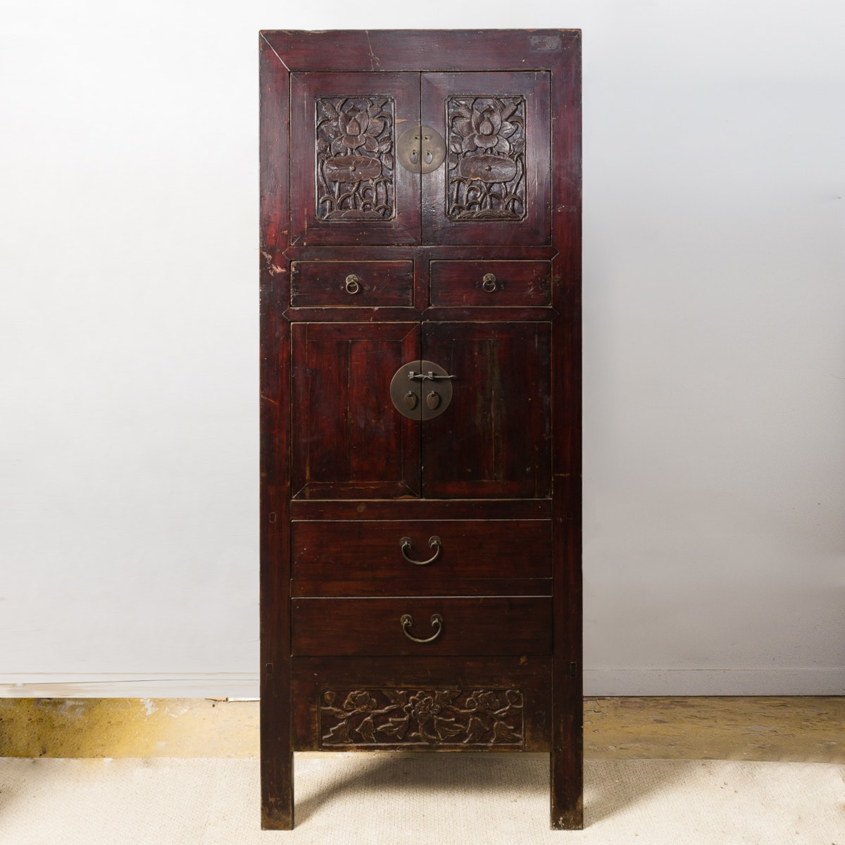 Carved Wood Chinese Cabinet with Drawers